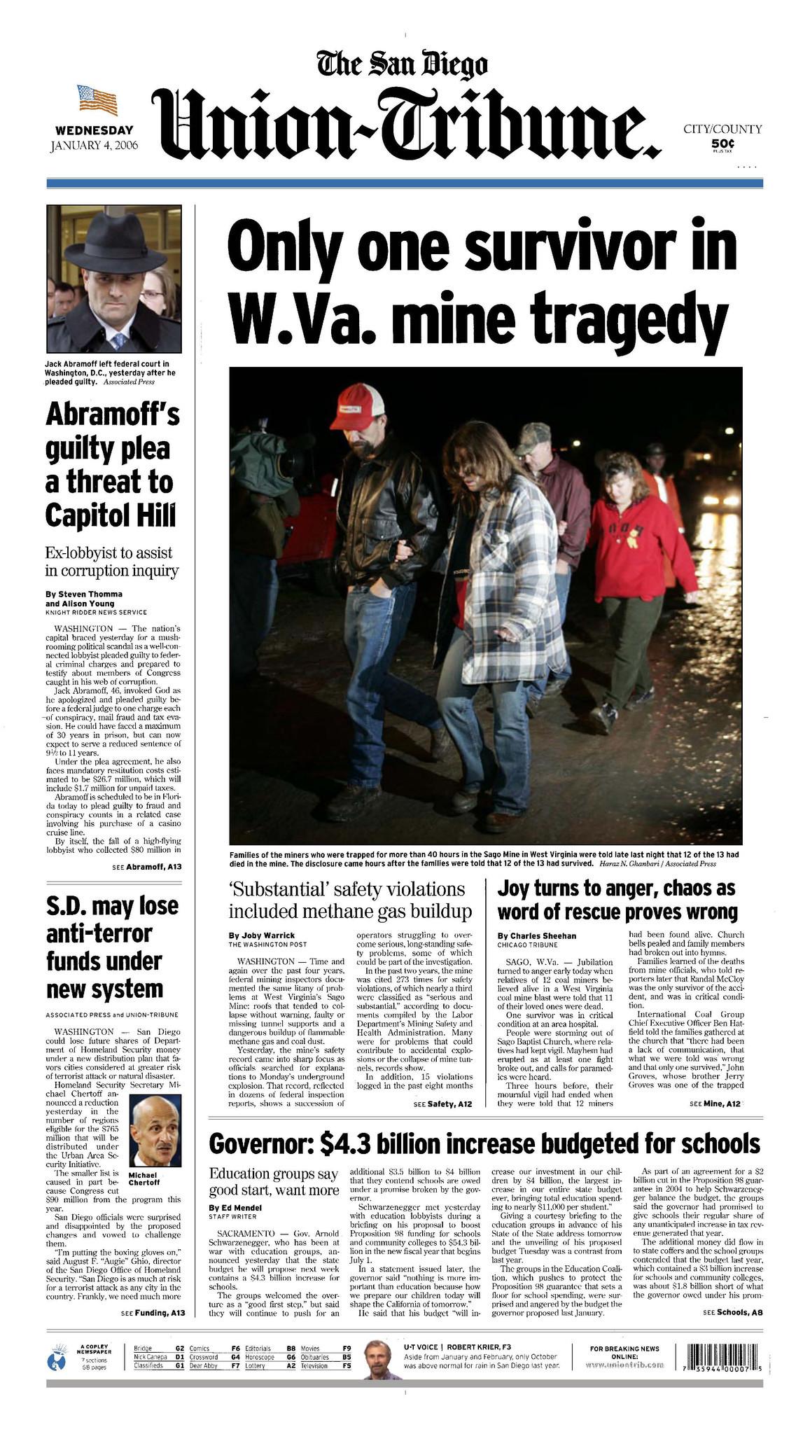 January 4, 2006: Only one survivor in W Va  mine tragedy