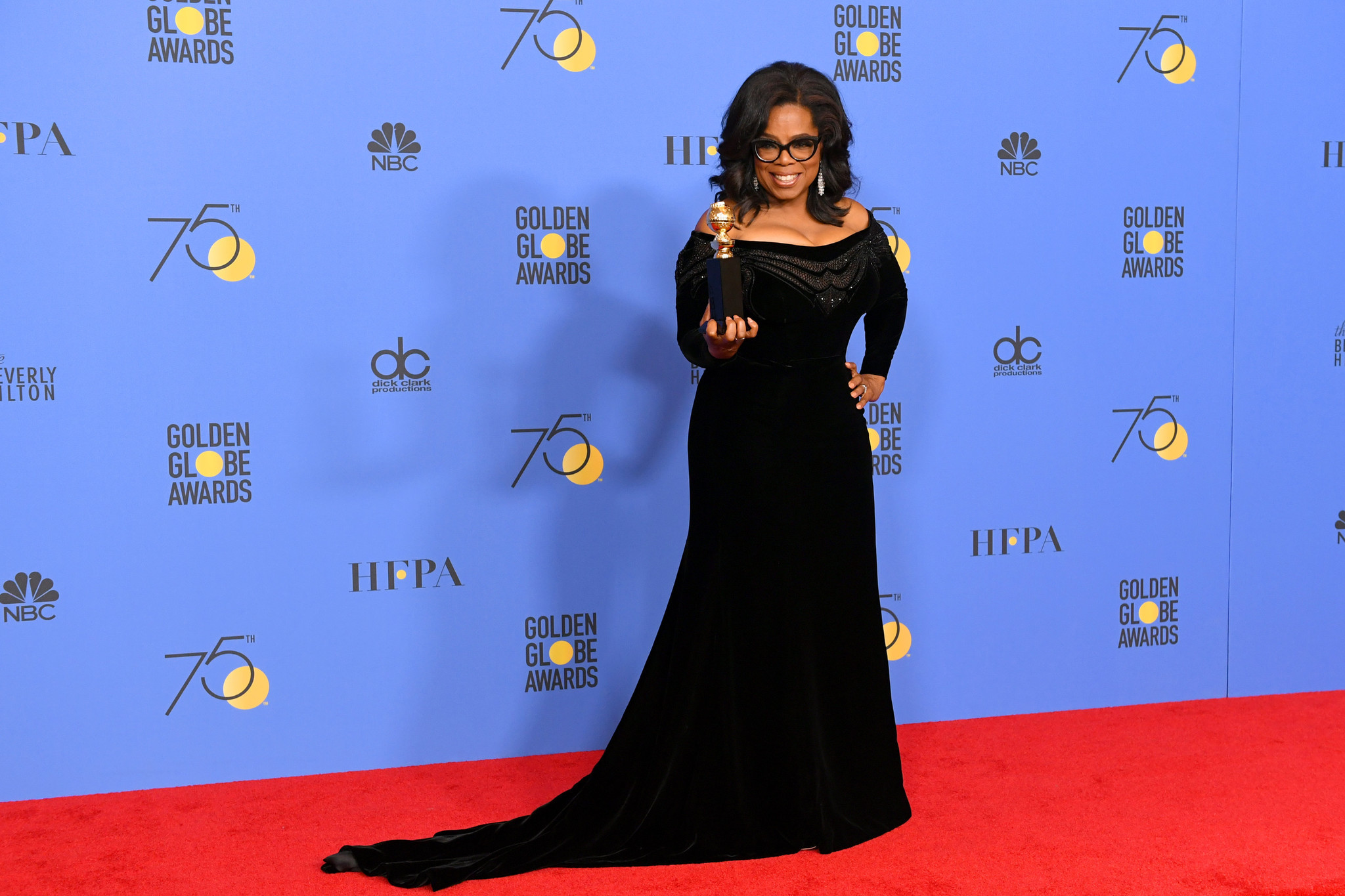 Oprah Winfrey Three Billboards Triumph At Black Draped