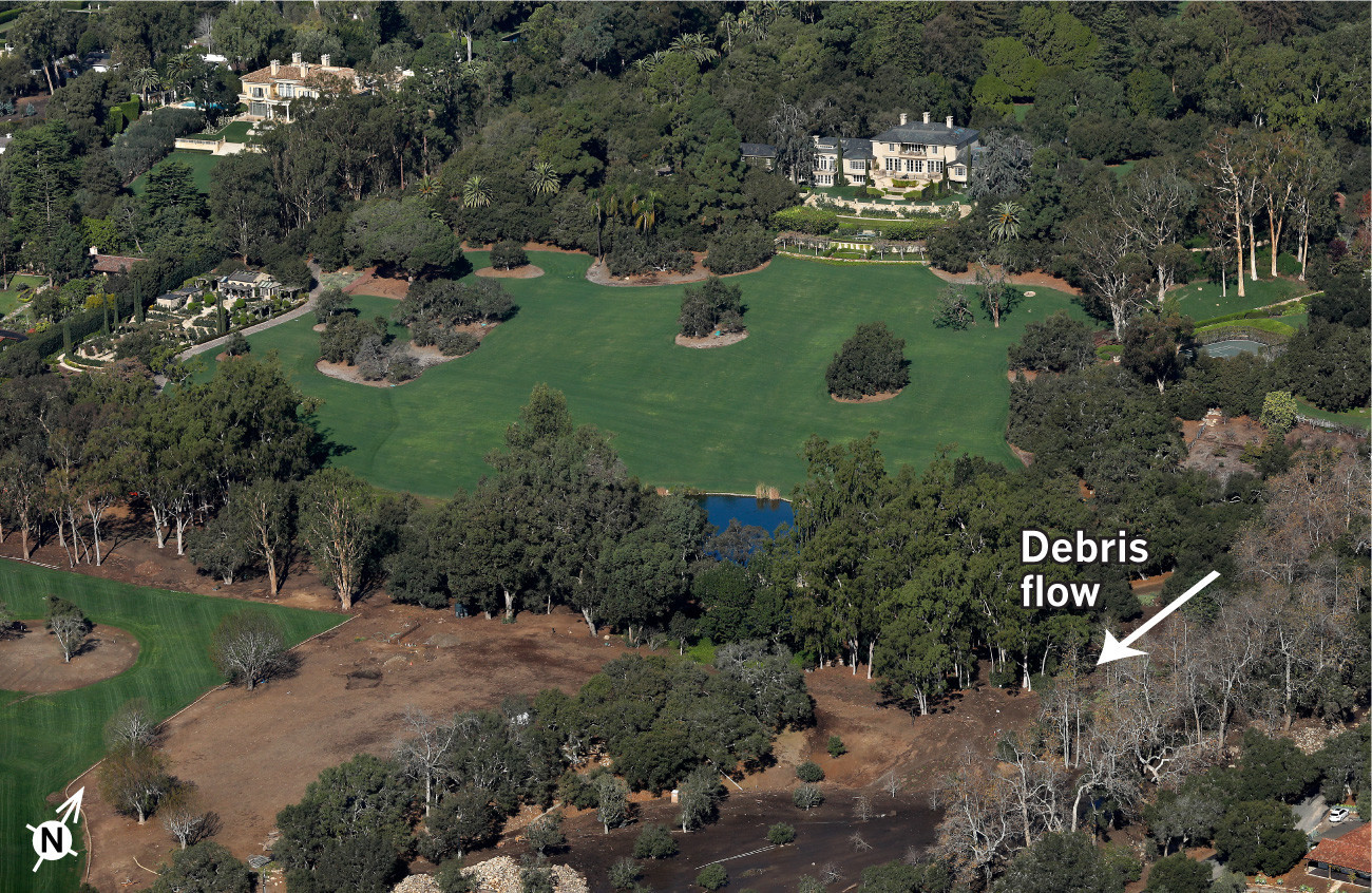 Debris flow near Oprah's house