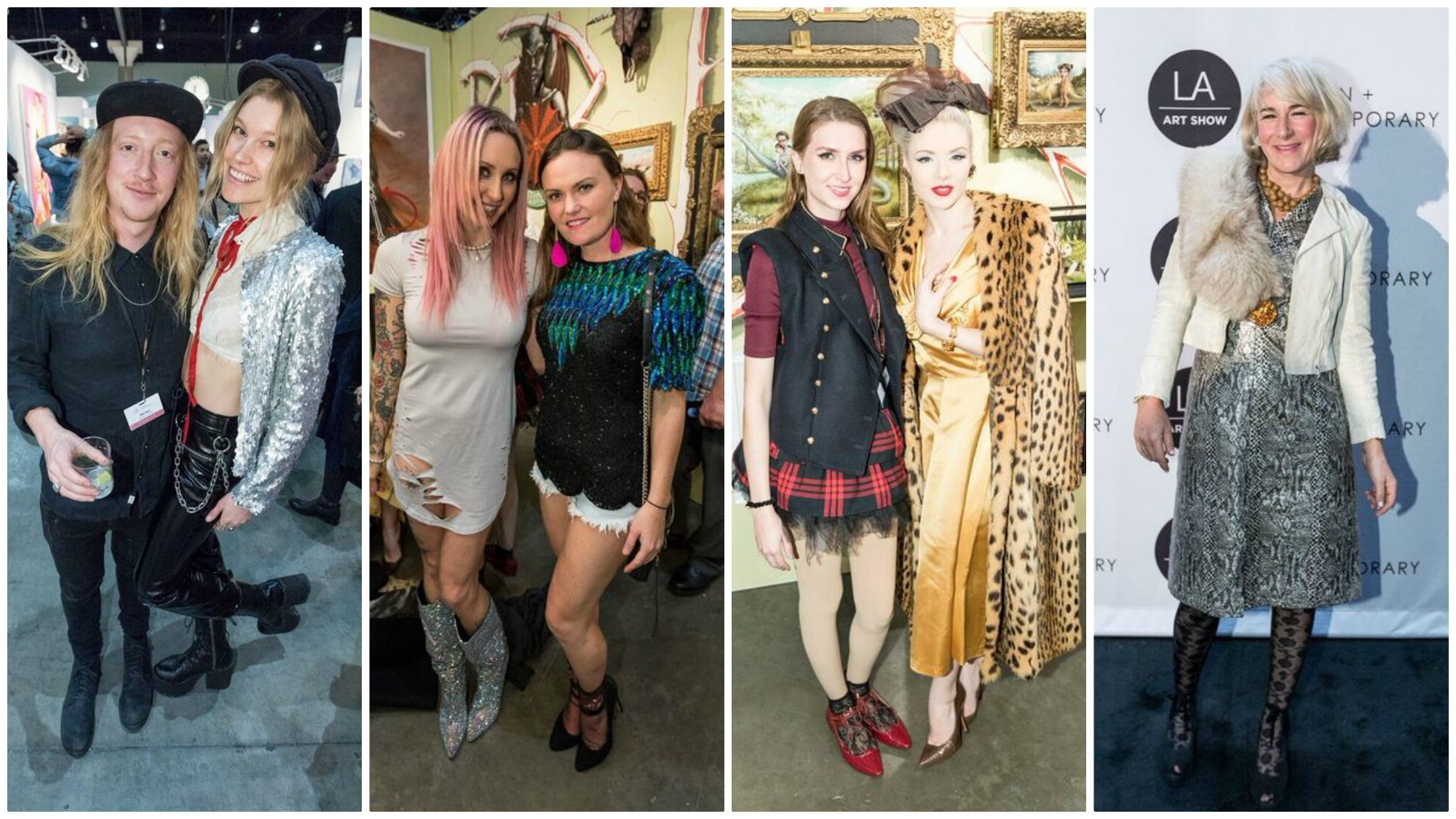 A look at some of the outfits worn by guests during the L.A. Art Show gala on Wednesday.