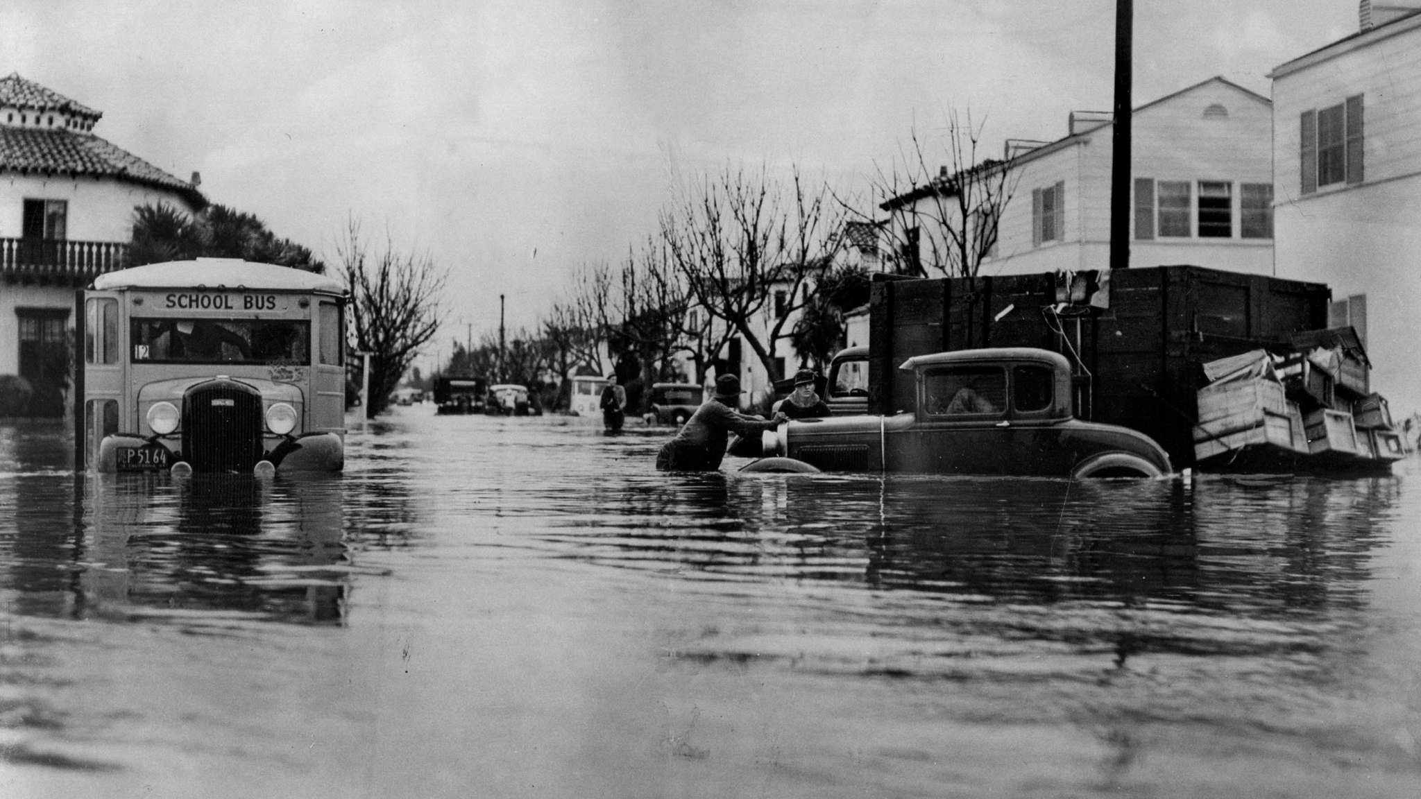 March 2, 1938: Flooding in Southern California killed dozens. This bus became stuck at West Forty-th