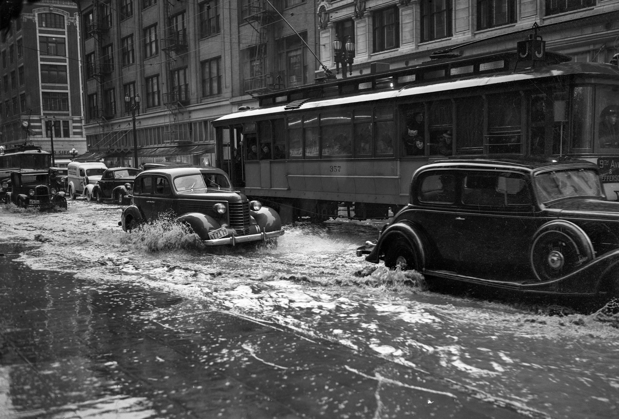 March 2, 1938: Drains could not keep up with rain filling streets in downtown Los Angeles. This phot
