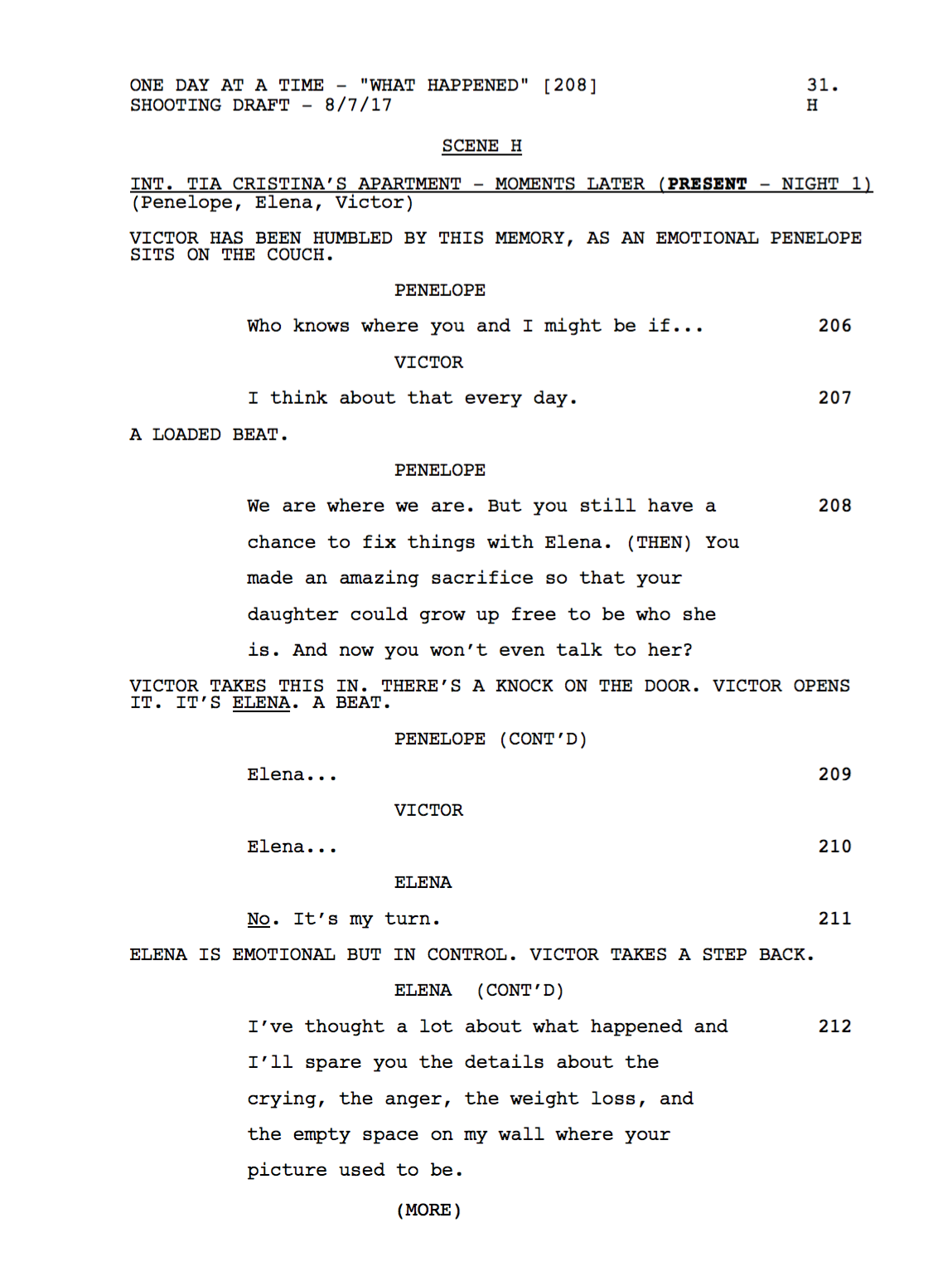 A peek at the script from