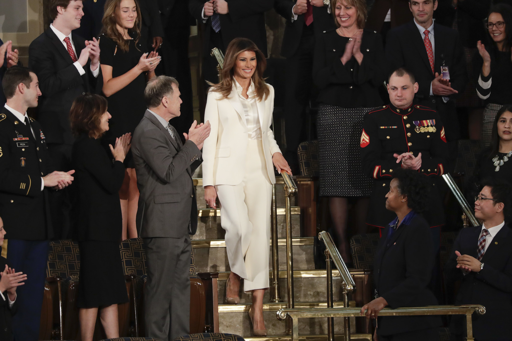 First lady Melania Trump arrives before the State of the Union address to a joint session of Congres