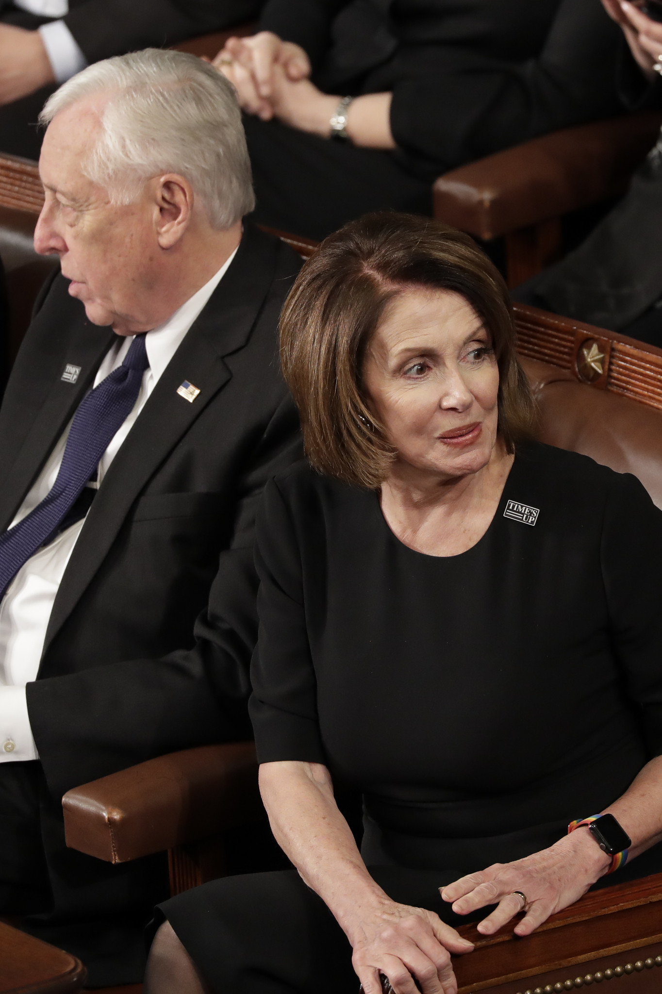 House Minority Leader Nancy Pelosi of California and Minority Whip Steny Hoyer, D-Md., attend the St