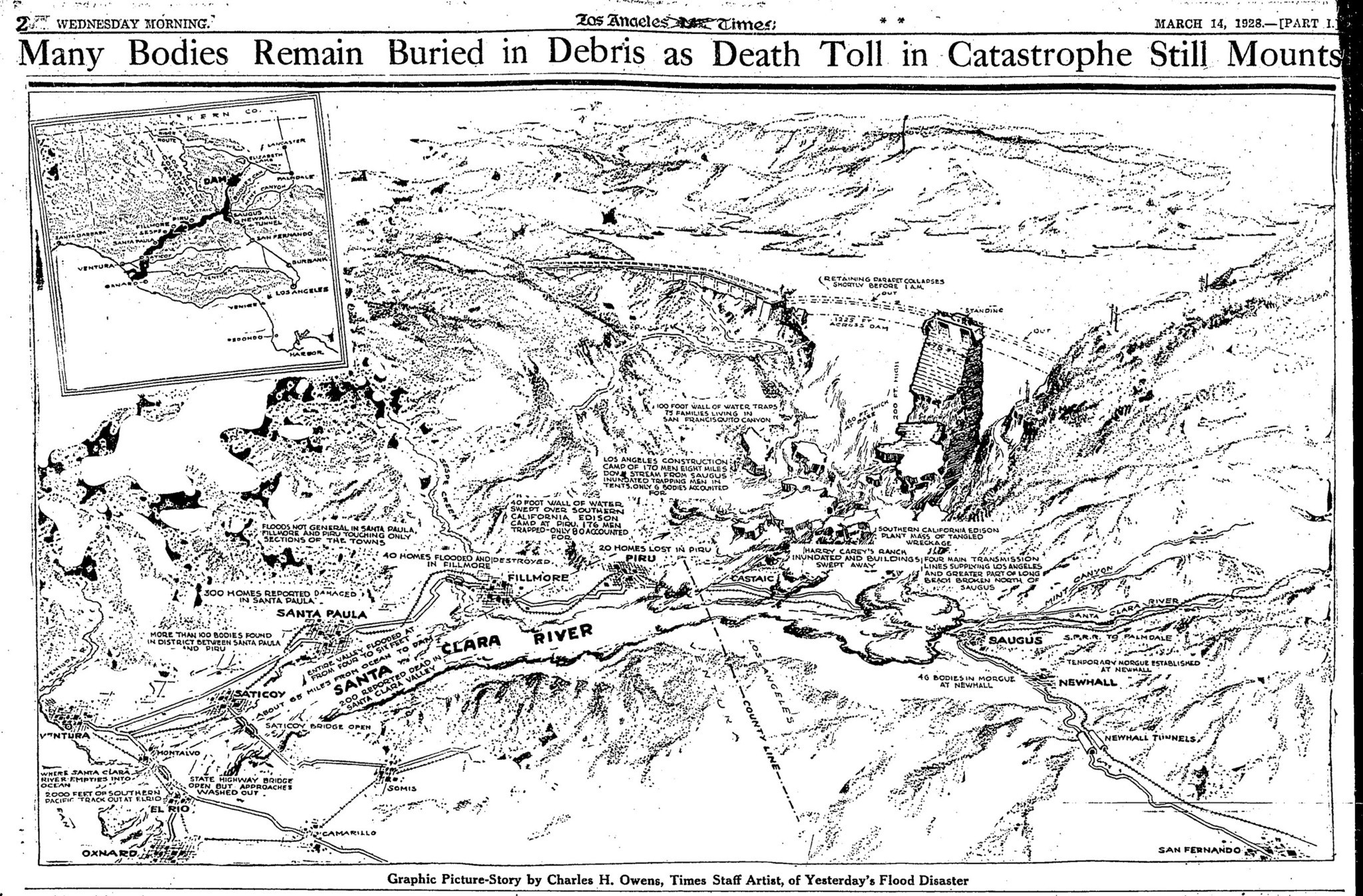 Graphic on the St. Francis Dam collapse published in the March 14, 1928, Los Angeles Times.