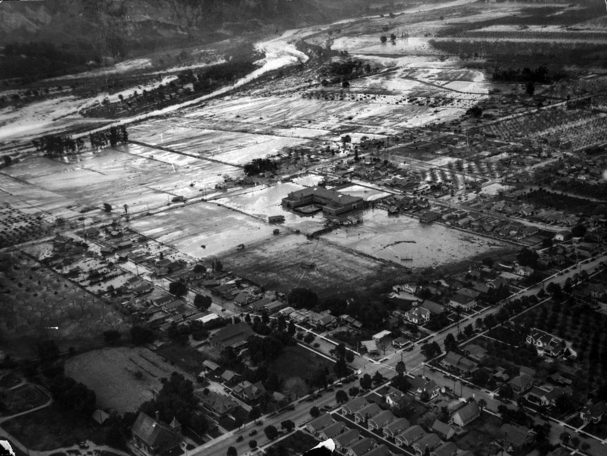 March 13, 1928: Aerial photo of Santa Paula portions of the city were inundated by water following t
