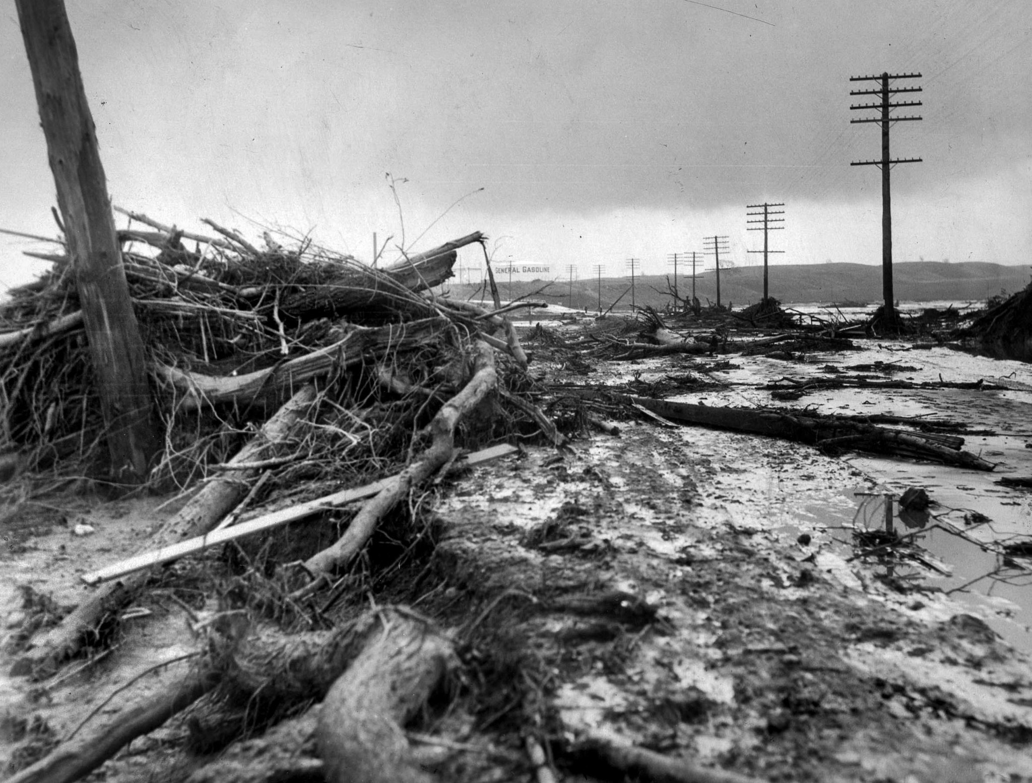 March 13, 1928: Debris littering main highway near Castaic following the collapse of the St. Francis