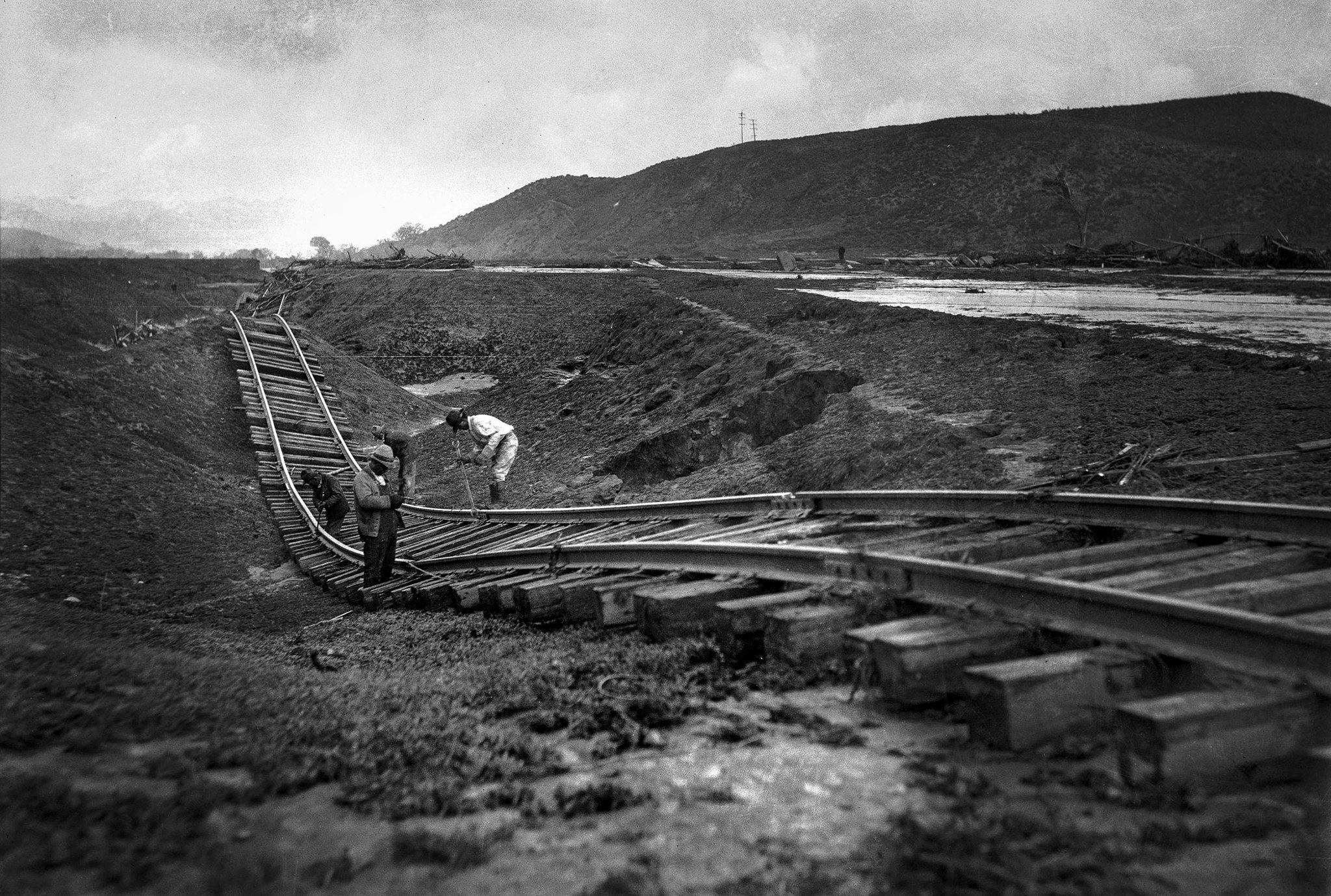 March 13, 1928: Flood twisted railroad track at Castaic on the Santa Paula-Montalvo branch of Southe
