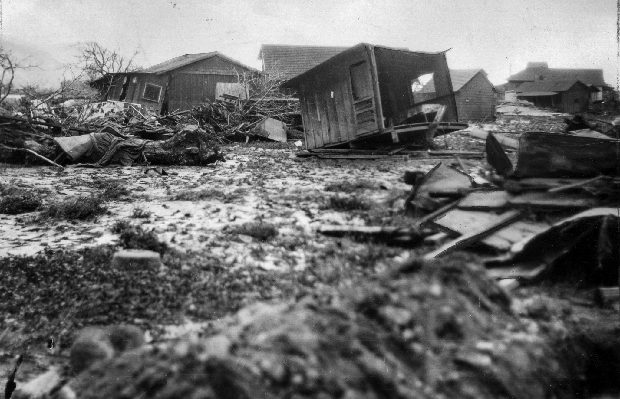March 14, 1928: Remains of homes in Santa Paula following the collapse of St. Francis Dam. This phot