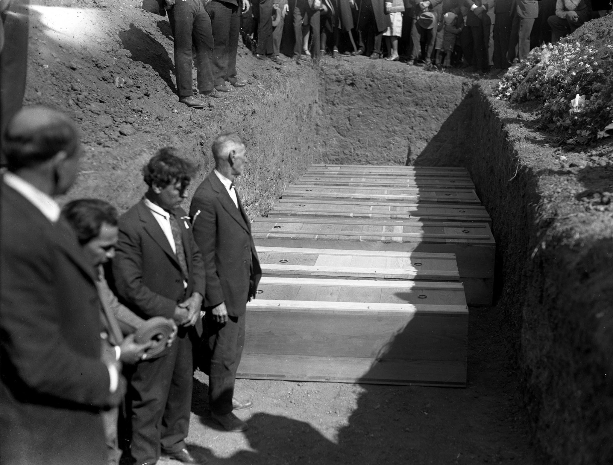 Seven coffins containing victims of March 13, 1928 St. Francis Dam collapse prepared for burial in S