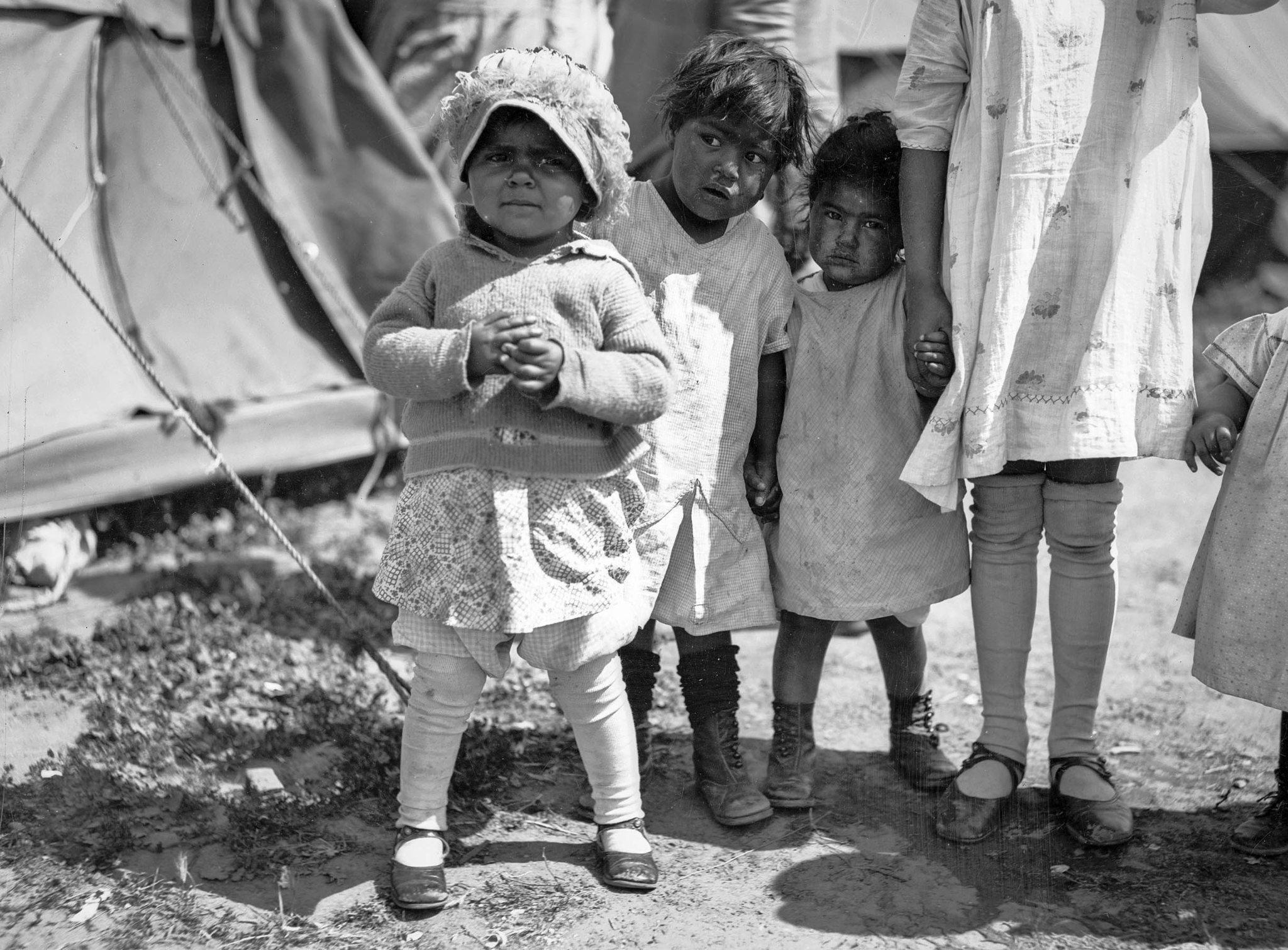 March 1928: Child survivors at a relief camp after the failure of the Saint Francis Dam and resultin