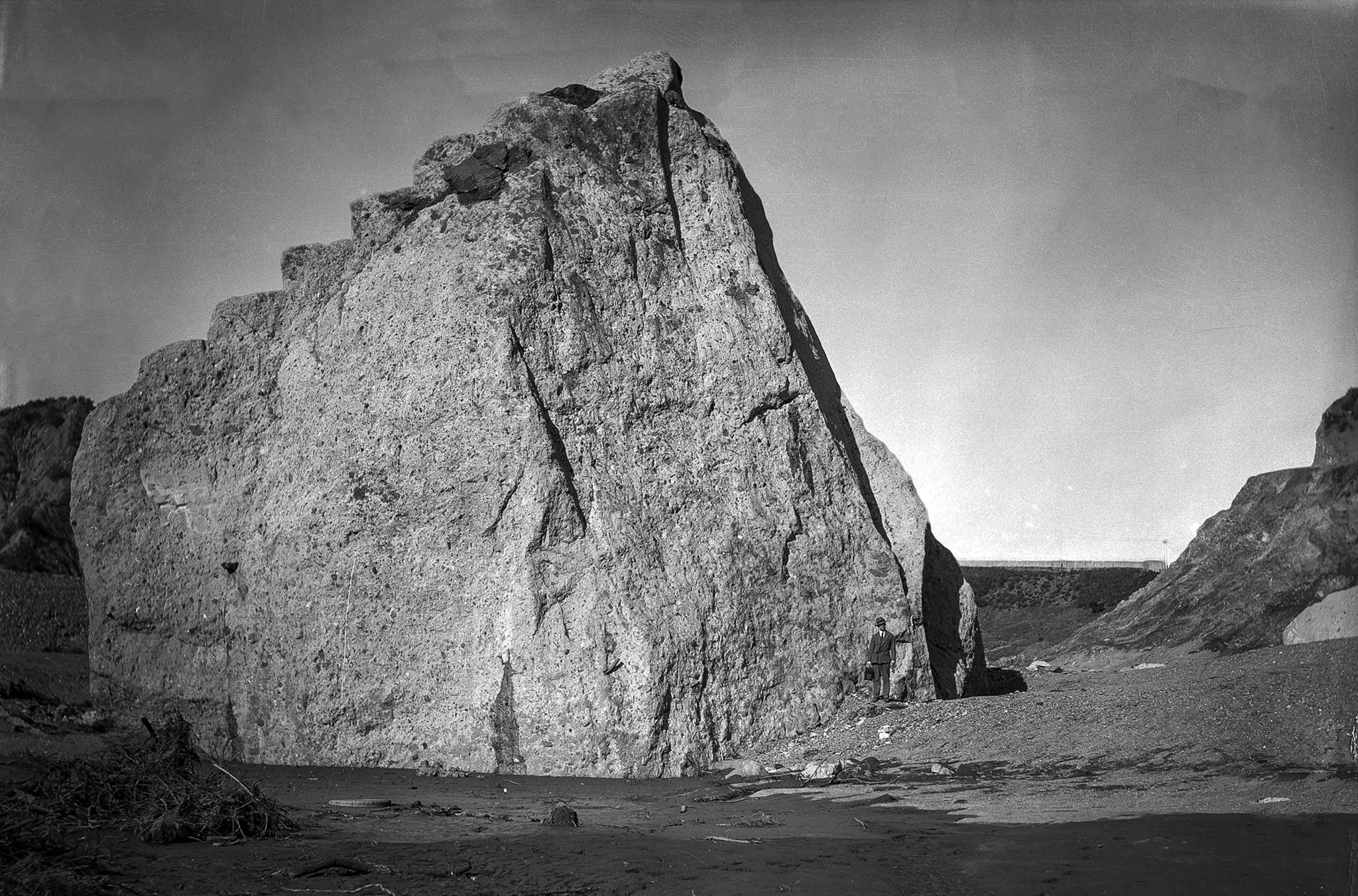 March 15, 1928: A large section of concrete block from St. Francis Dam sits about three-fourths a mi