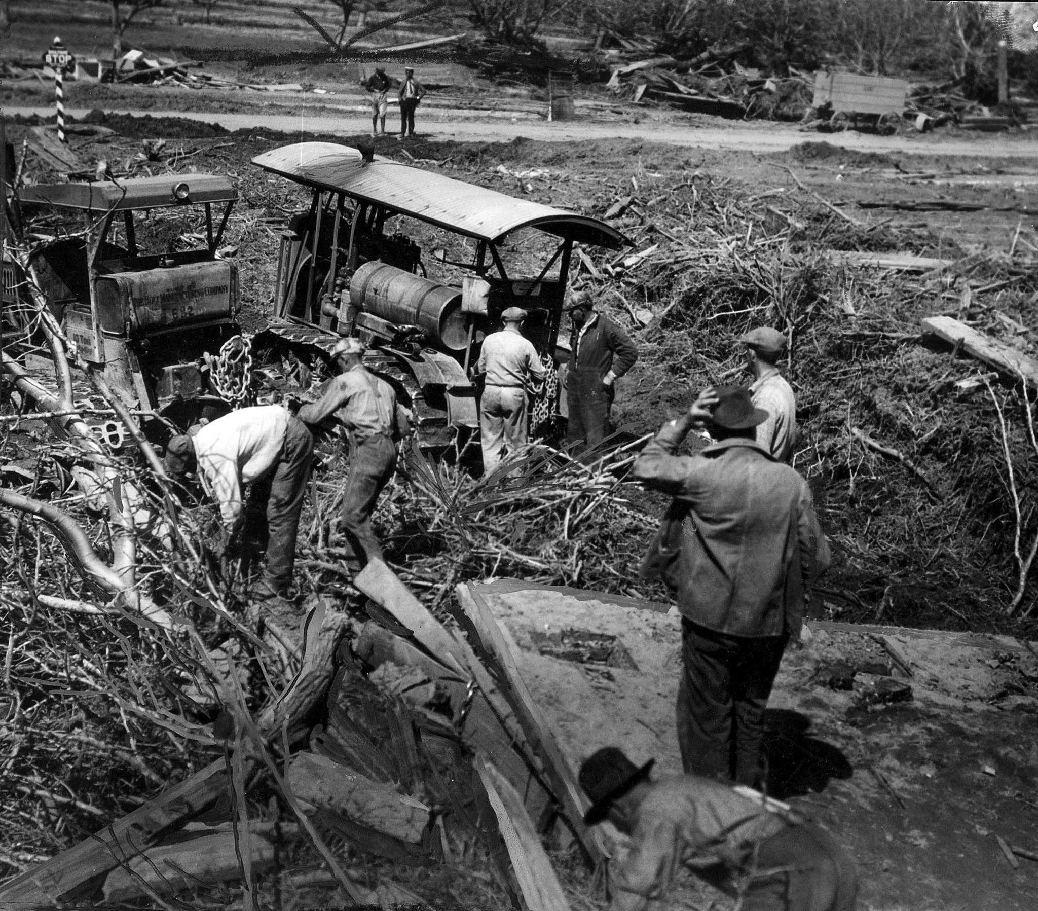 March 1928: Clearing away debris near Santa Paula following the St. Francis Dam disaster. This photo