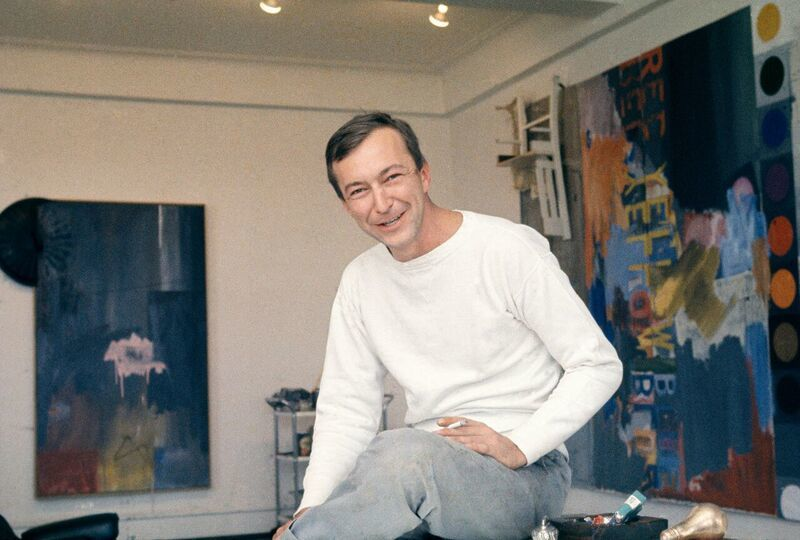 Jasper Johns at his Riverside Drive studio in New York City in 1964.