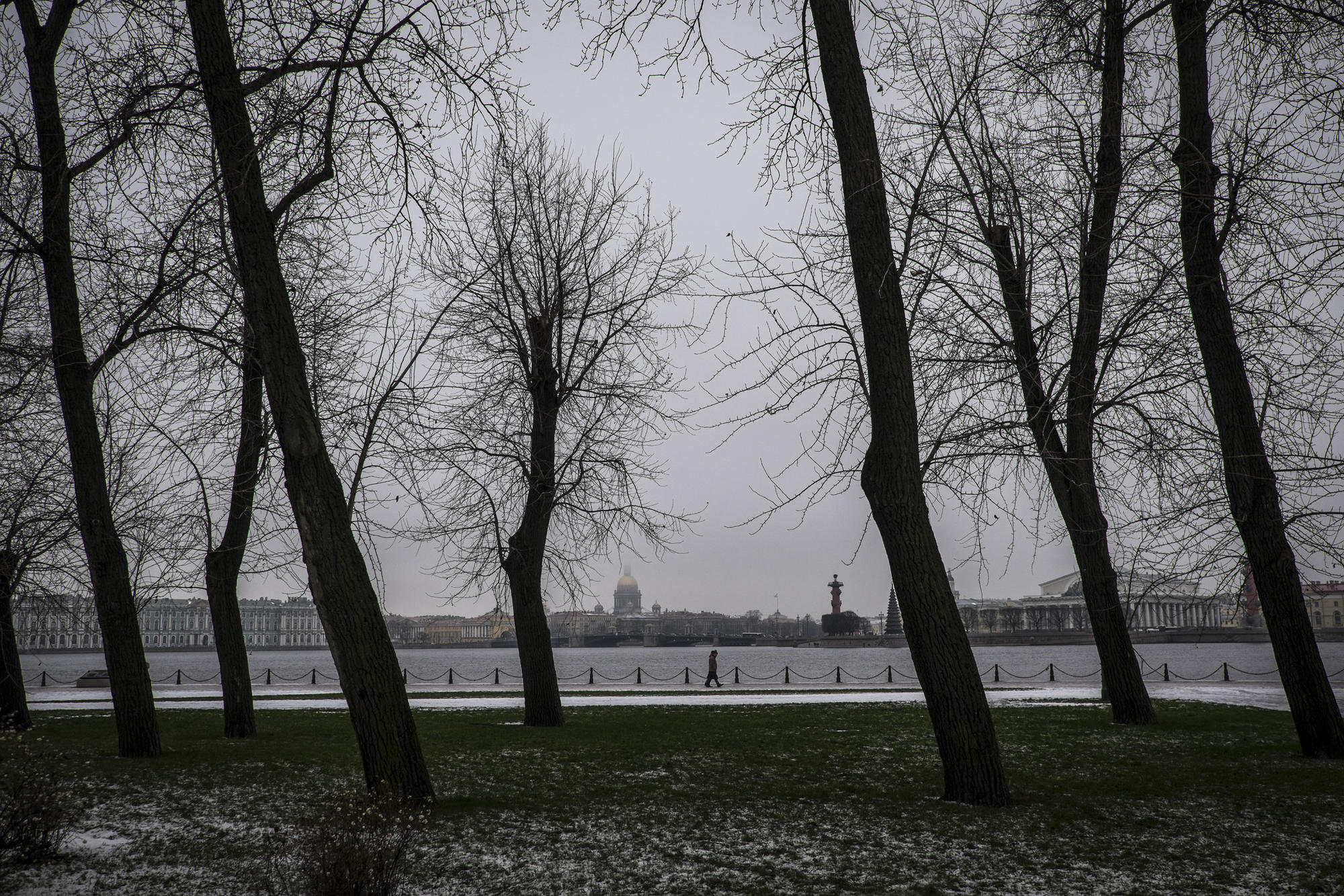 St. Isaac Cathedral is seen across the Neva River from the Peter and Paul fortress in St. Petersburg.