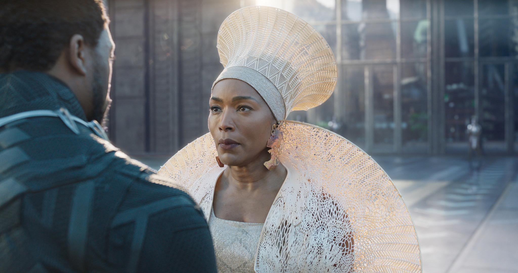 (L-R) - T'Challa/Black Panther (Chadwick Boseman) and Ramonda (Angela Bassett) in a scene from