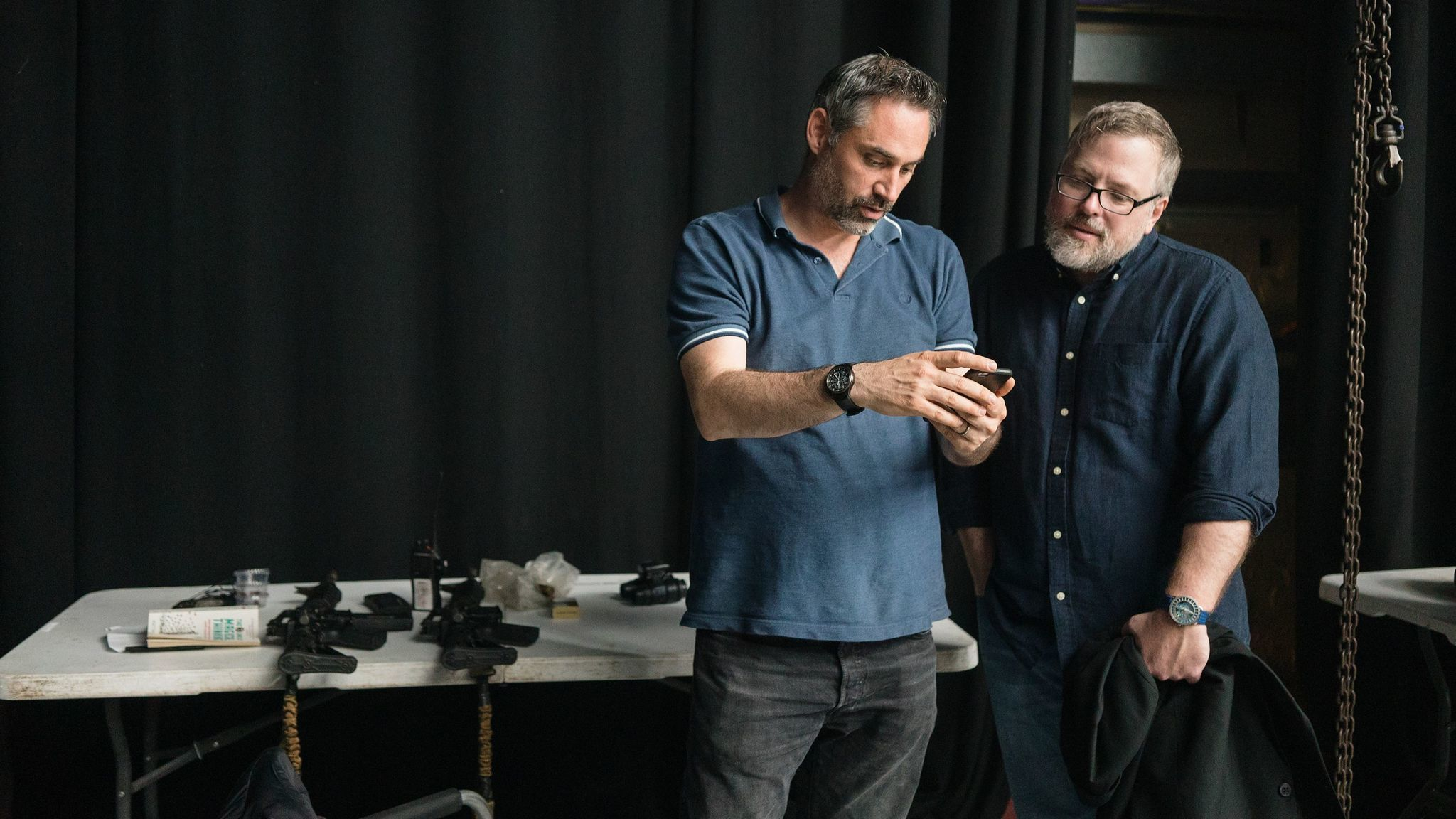 "Alex Garland, left, and Jeff VanderMeer on the set of ""Annihilation."""
