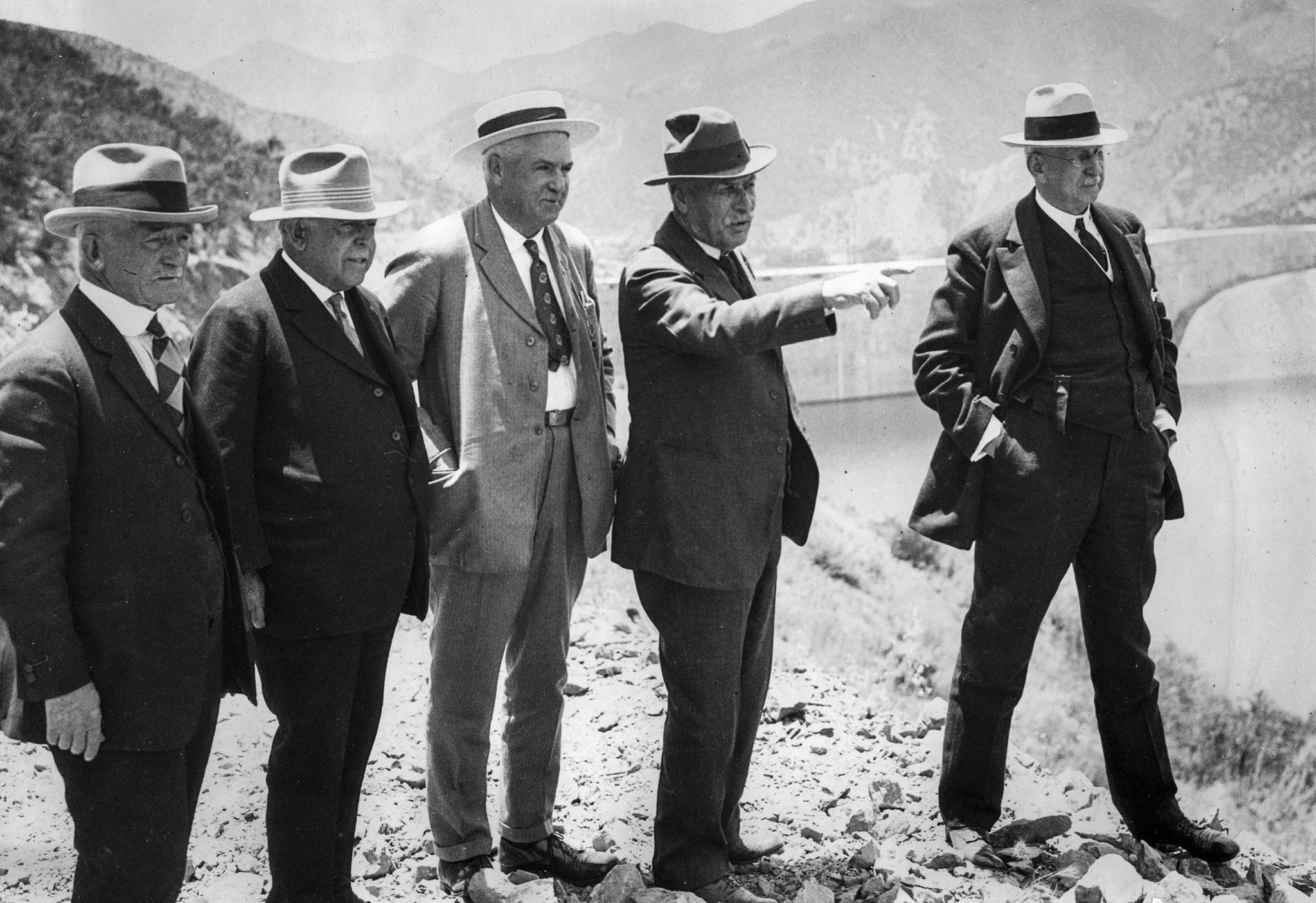 Circa 1926 photo of officials at the site of the new St. Francis Dam. Dam builder William Mulholland