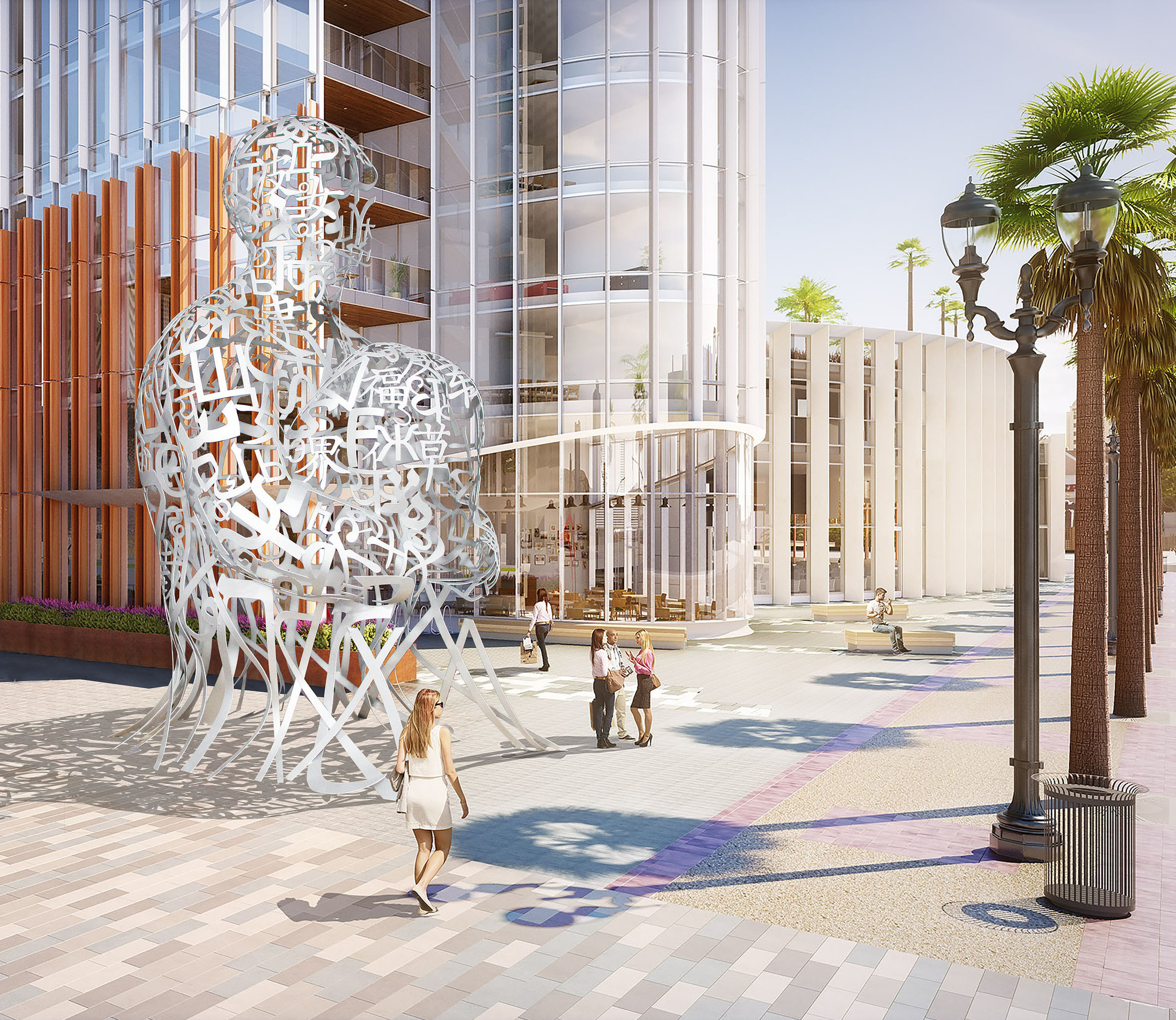 sculpture rendering on plaza