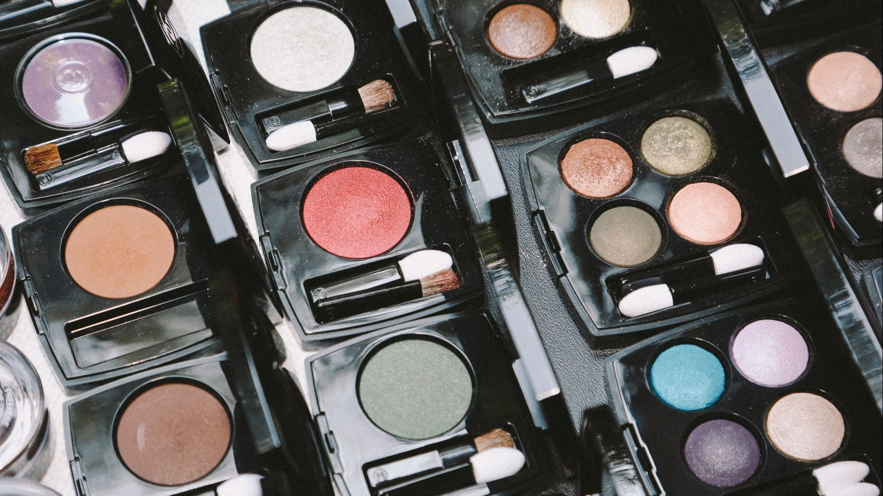 A colorful array of Chanel palettes shot by celebrity makeup artist and Chanel ambassador Kate Lee.