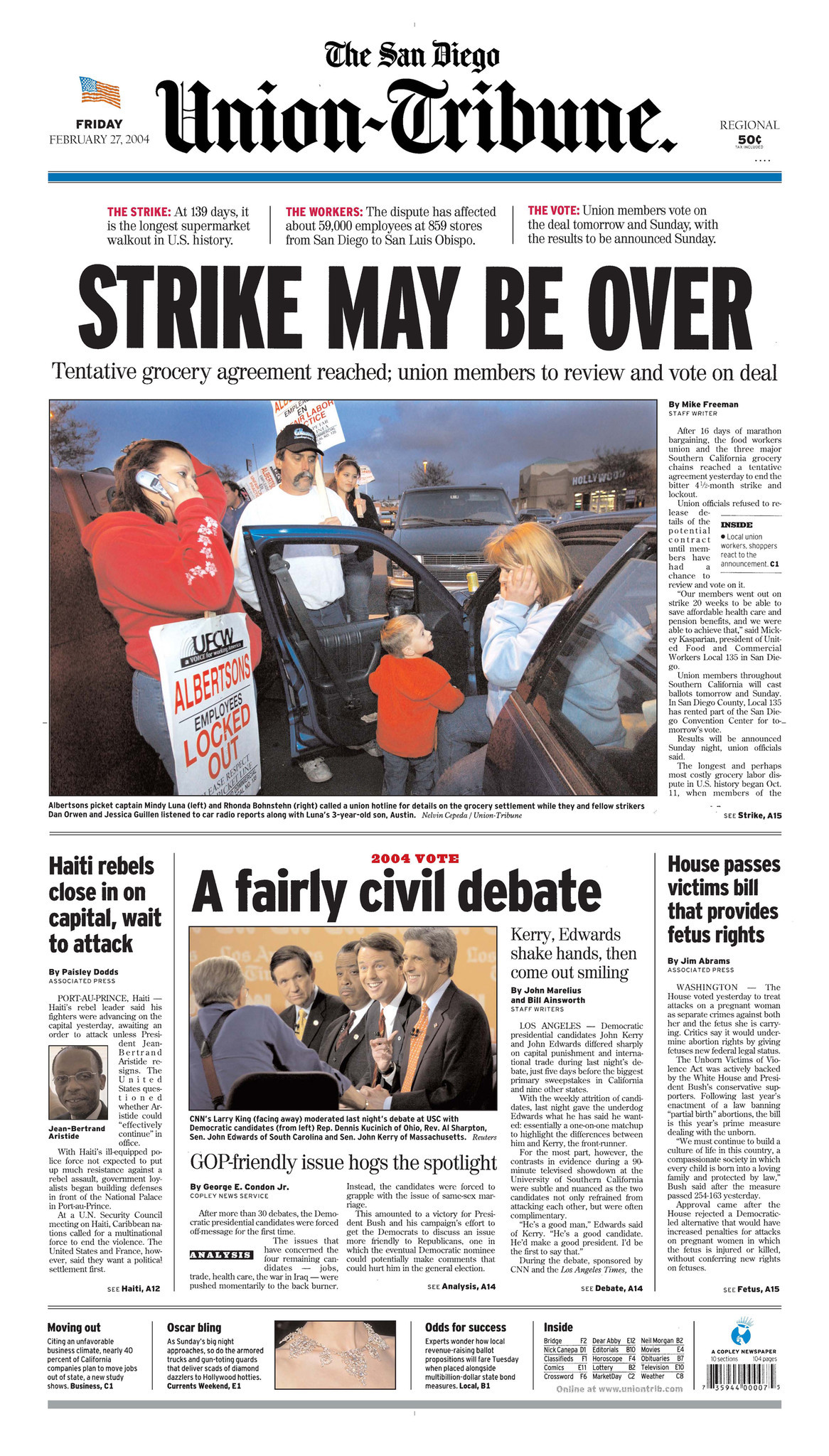 February 27, 2004: Grocery strike ends - The San Diego Union