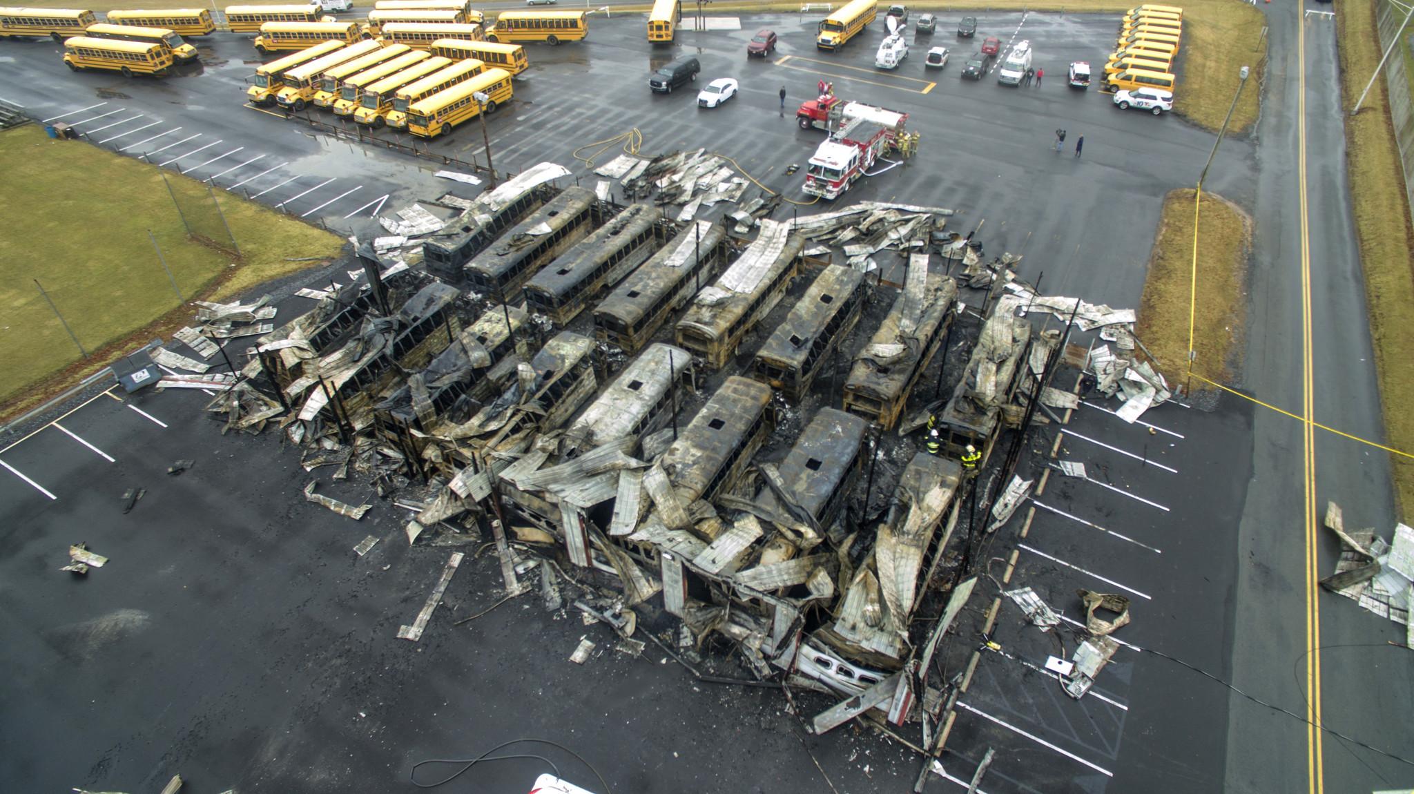 PICTURES: Garage fire destroys Parkland School District buses