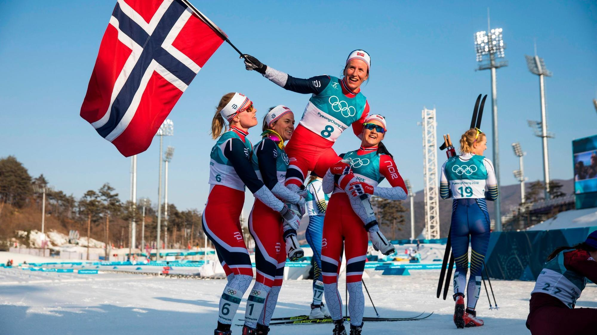 Marit Bjoergen Dominates In Last Olympic Race Wins 5th