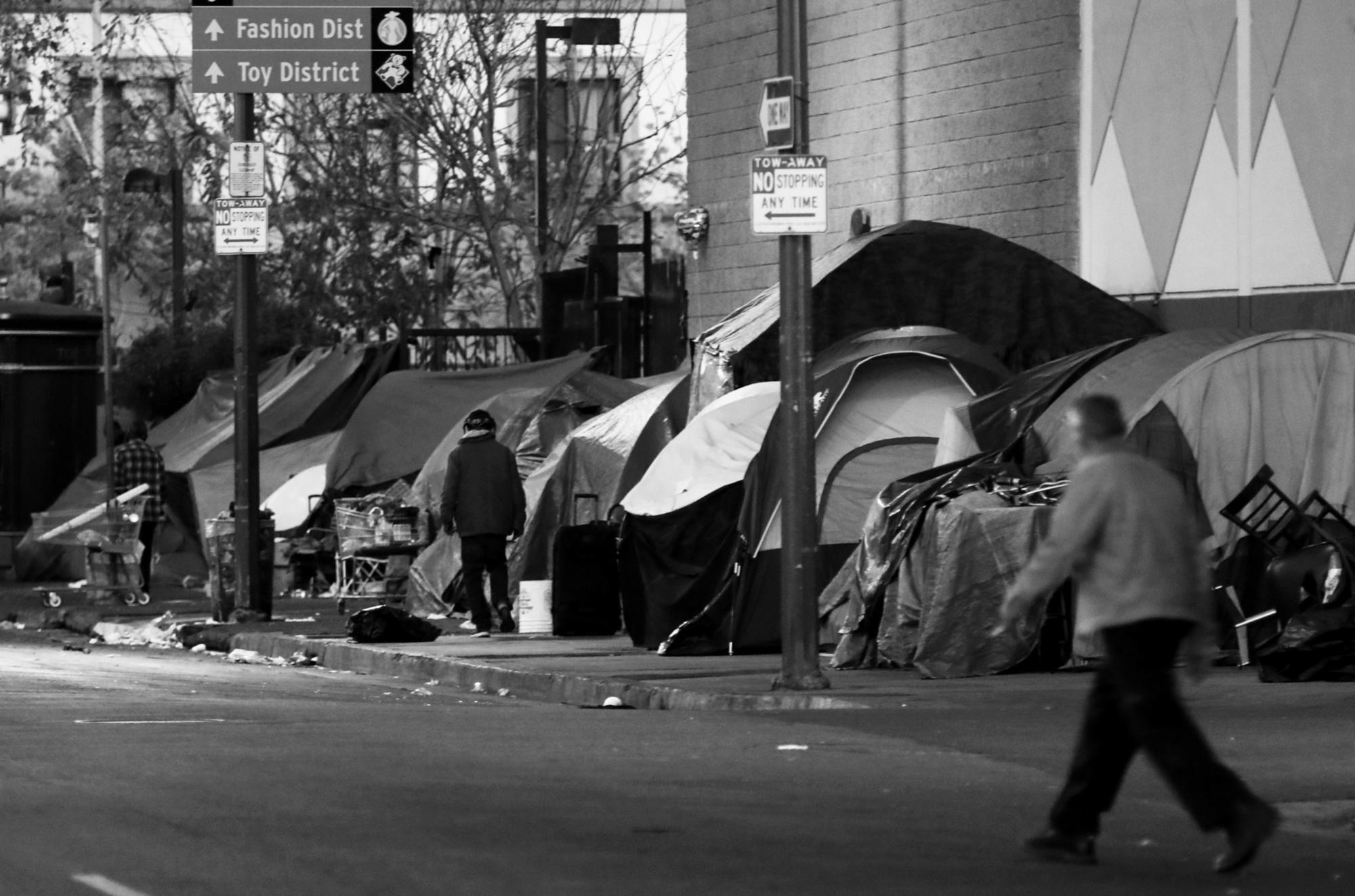 Streets lined with tents