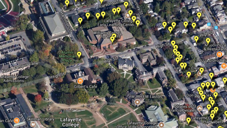 Lafayette College Map MAP: Properties owned by Lafayette College   The Morning Call Lafayette College Map