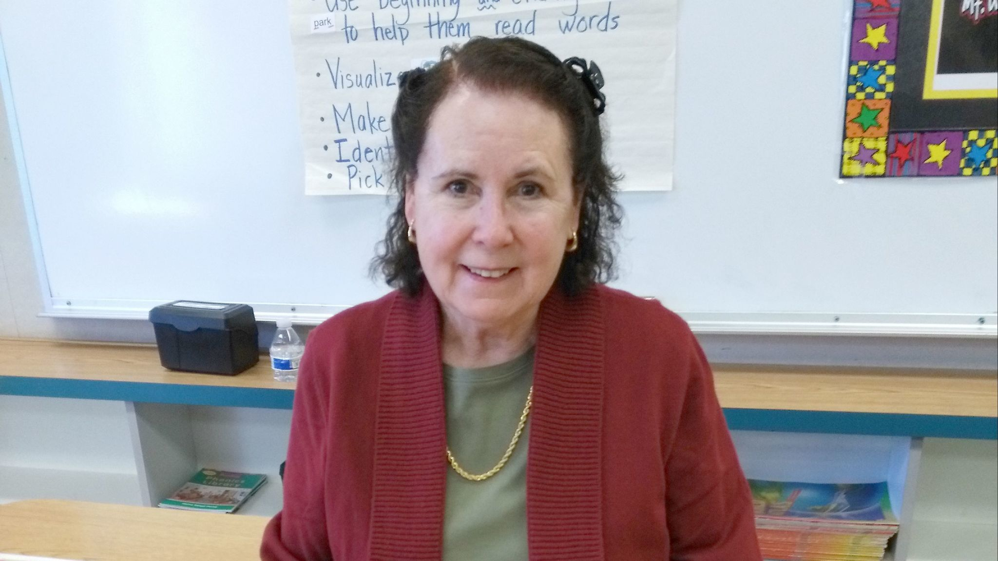 Retired teacher Leanne Plunkett continues guiding students as a volunteer and substitute teacher at Mt. Woodson Elementary School.