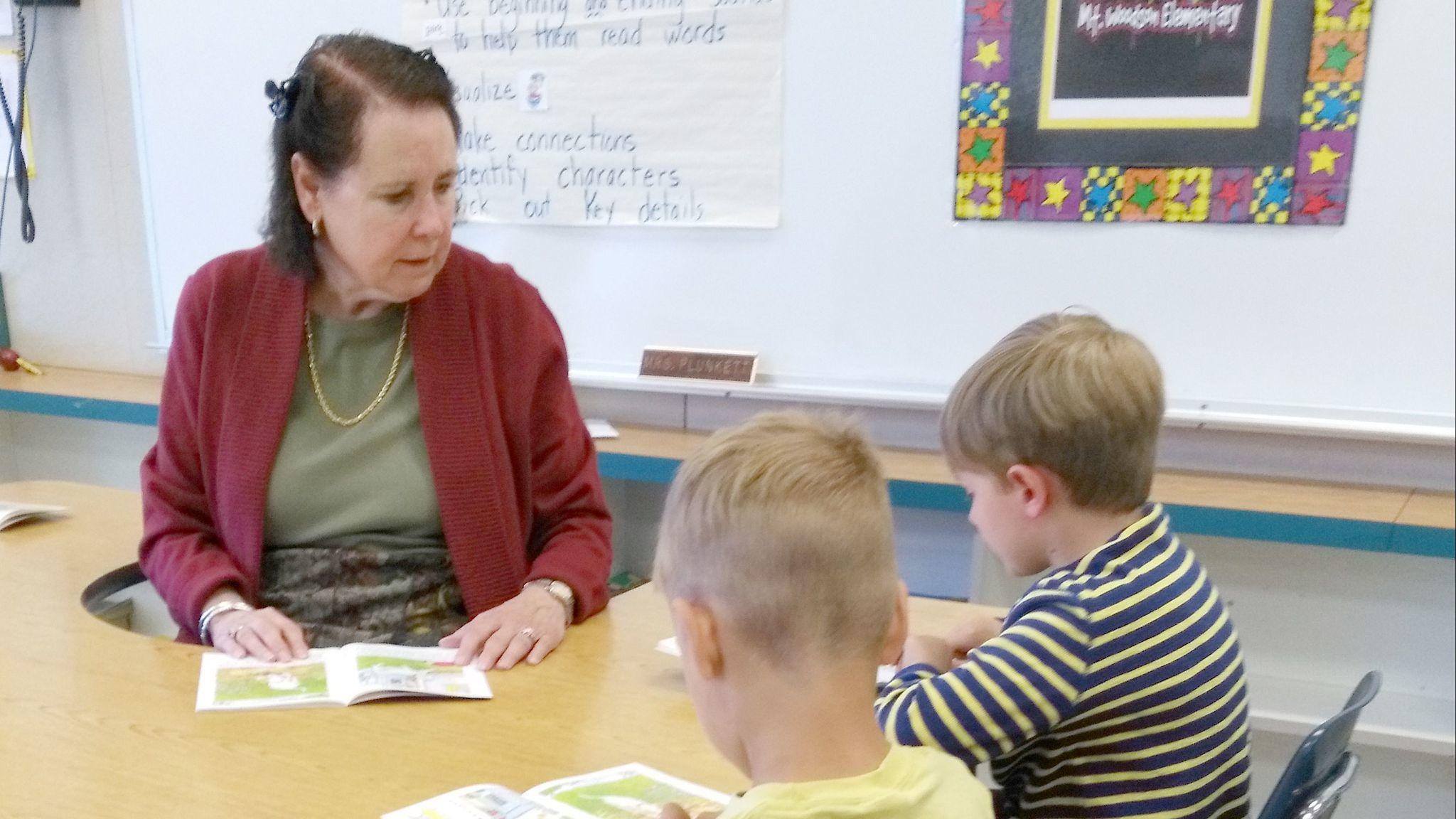 Leanne Plunkett said volunteering in the kindergarten classrooms at Mt. Woodson Elementary School brings great joy to her life.