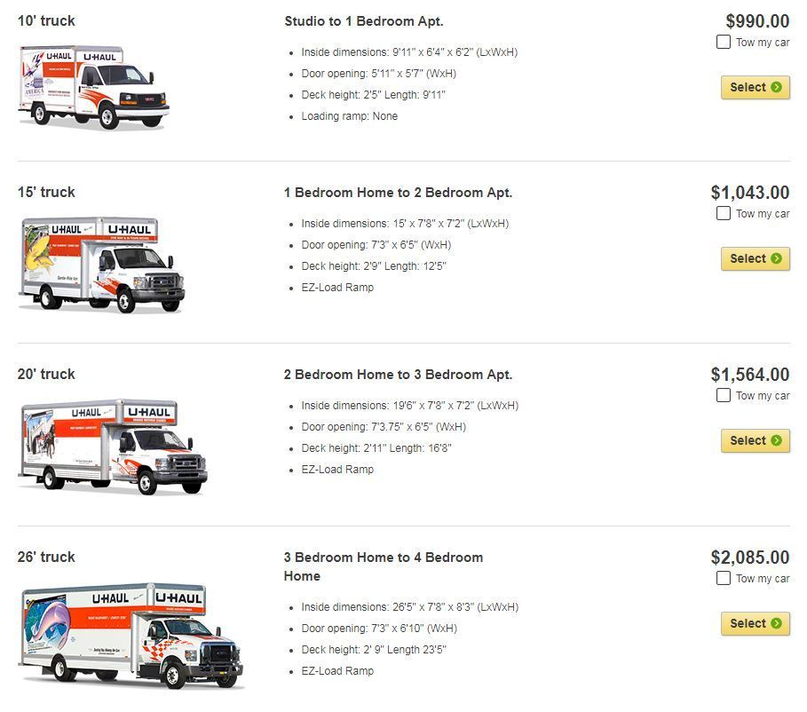 UHaul truck comparisons