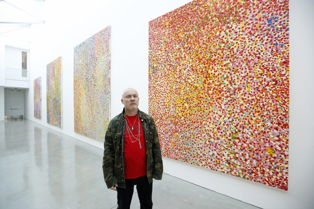 Damien Hirst with his new