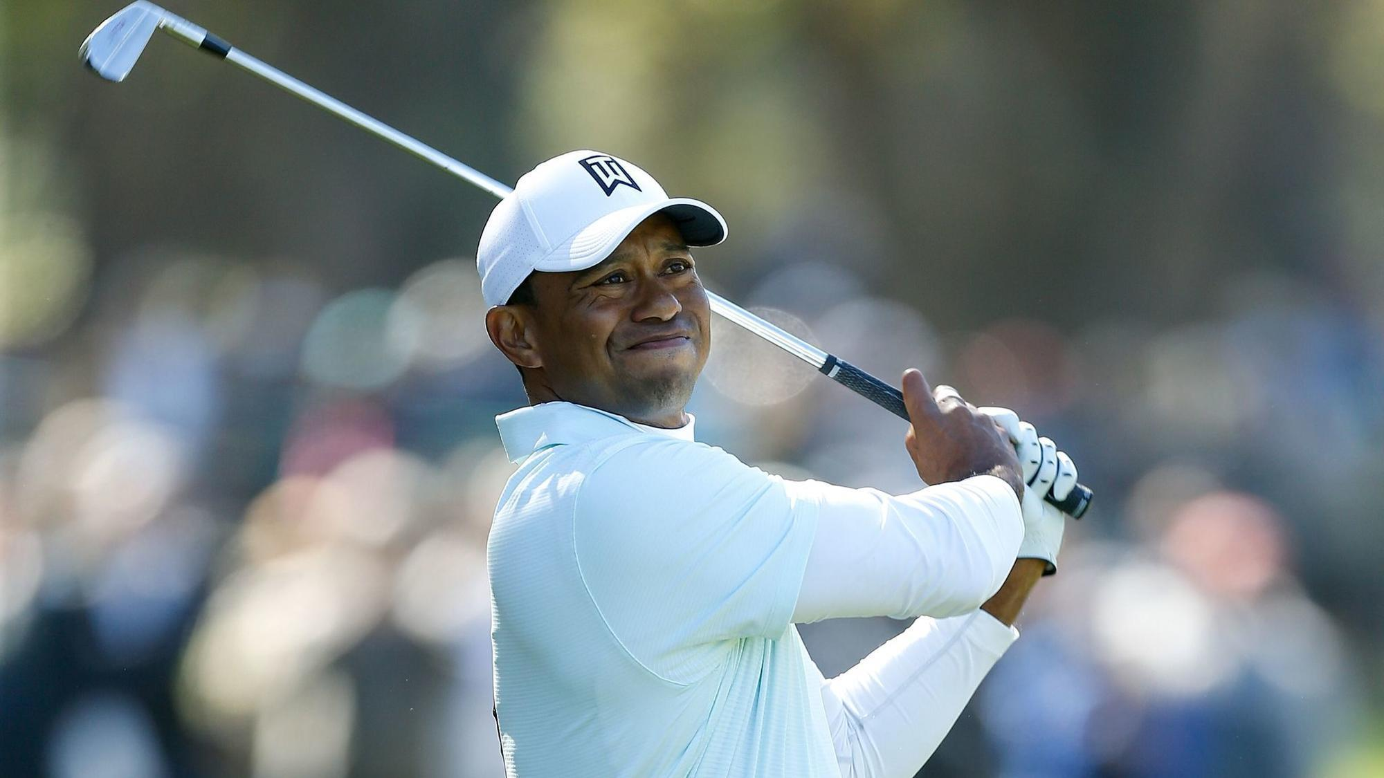 tiger woods surges to the top of a pga tour leaderboard