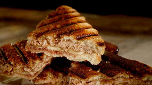 Halvah, banana and date syrup panini