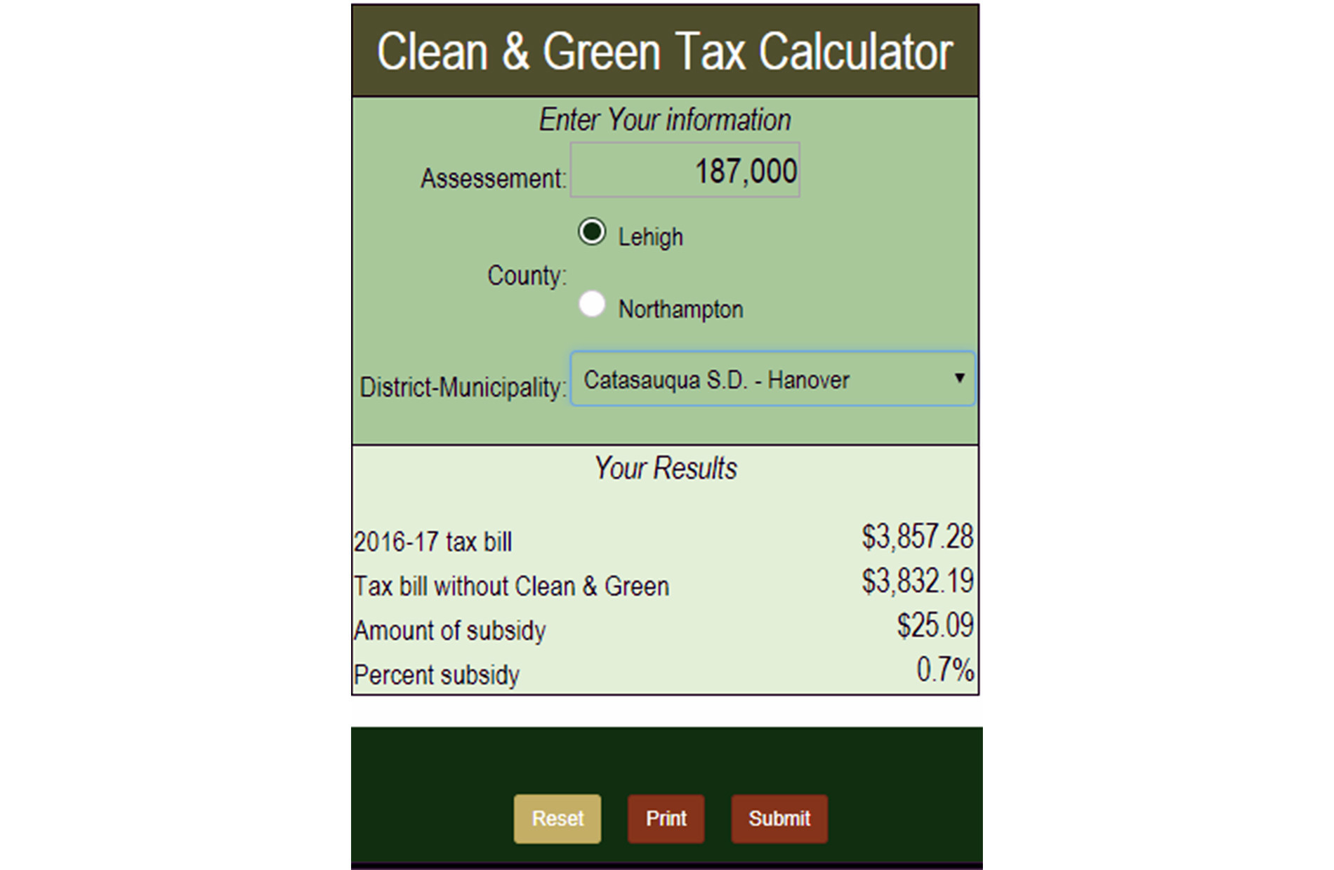 Pennsylvania Clean and Green tax calculator - The Morning Call