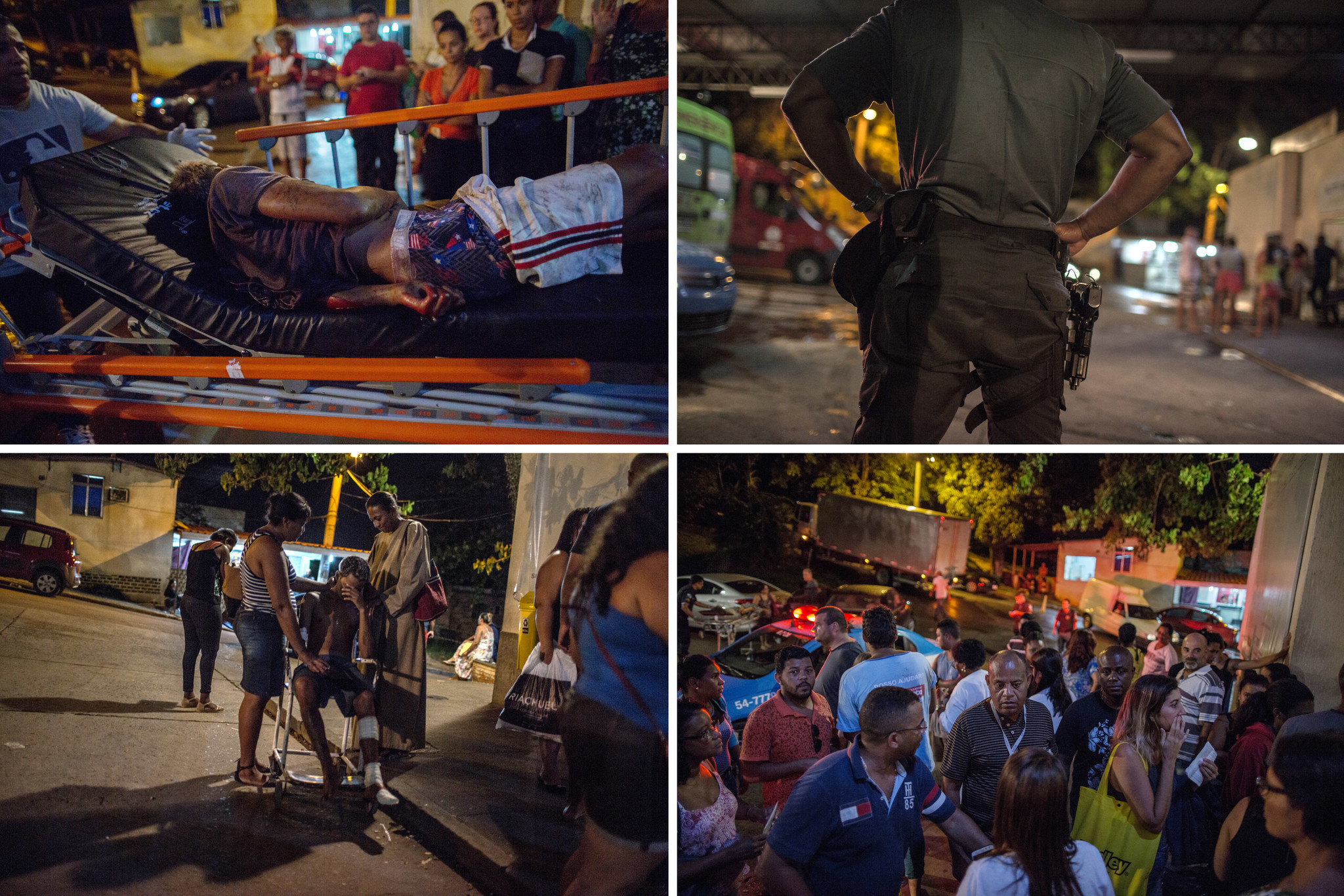 Clockwise from top left, a man wounded by gunfire is taken to Nova Iguacu General Hospital in Rio d