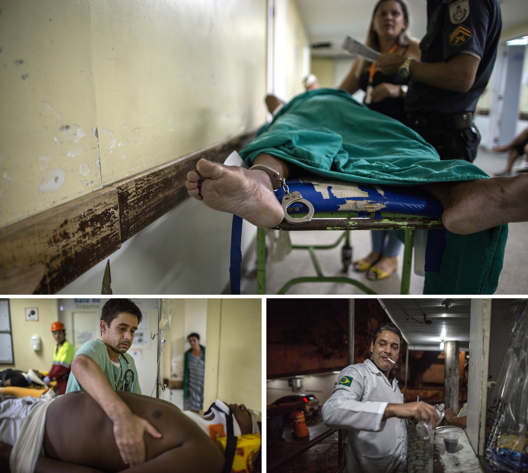 Top, a wounded man who was detained by authorities awaits medical treatment at the hospital. Left, Felipe Saint Clai
