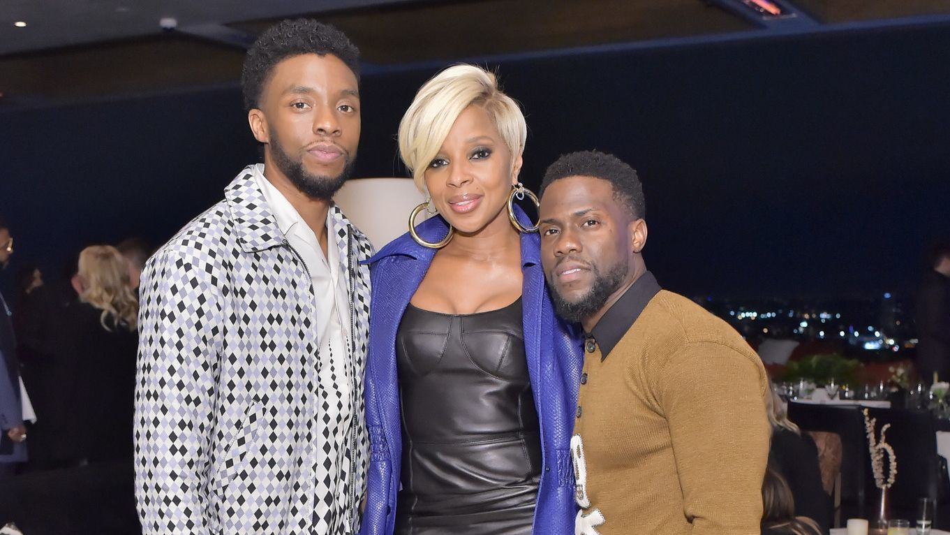 Chadwick Boseman, from left, Mary J. Blige and Kevin Hart.