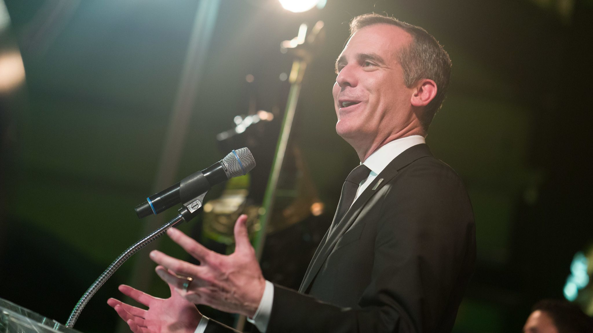 Los Angeles Mayor Eric Garcetti at the podium at the annual Discovery Ball on Friday night.
