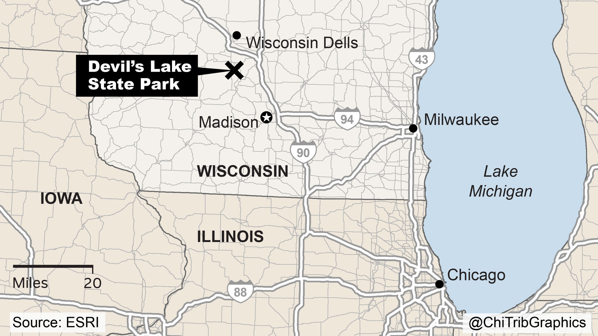 Map Devil S Lake State Park Wisconsin Chicago Tribune