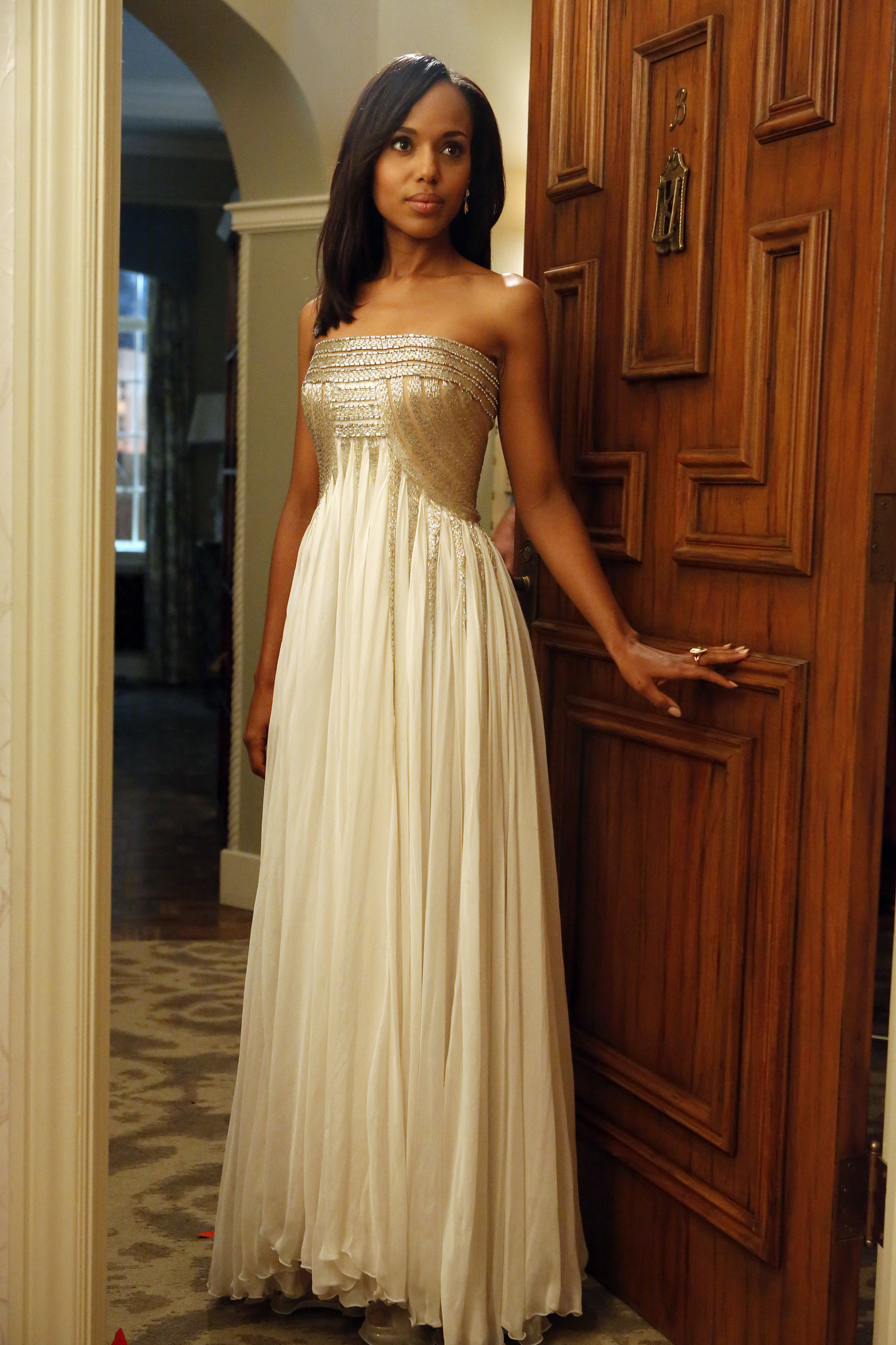 Olivia Pope wears a Jean Fares Couture gown during the 2012 episode
