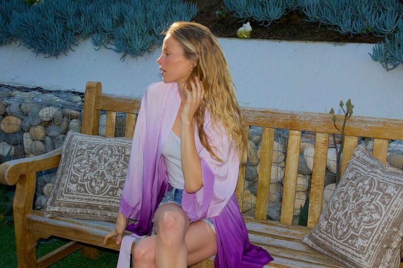 Silk robe from designer Helena Quinn in collaboration with skincare brand Tatcha.