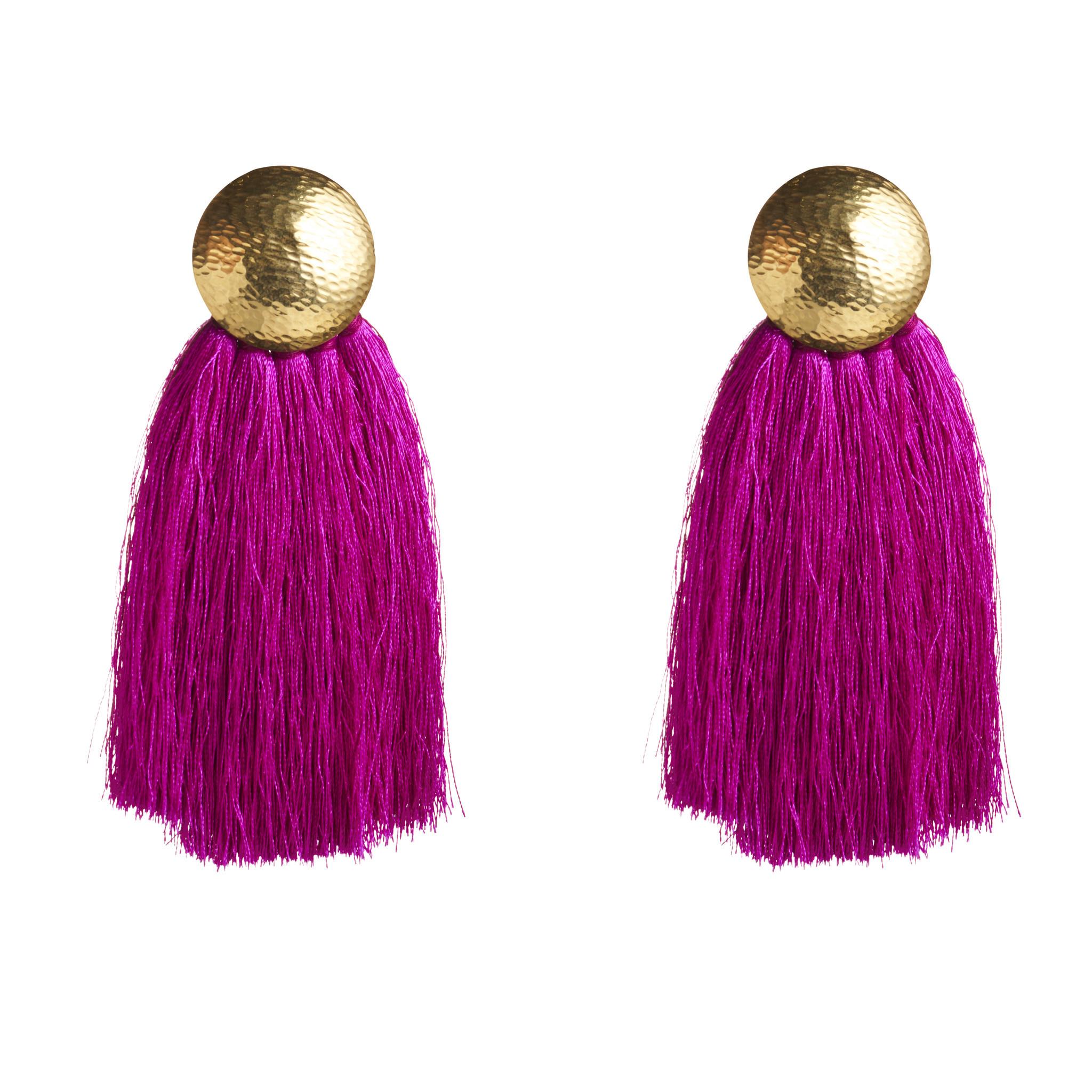 Flaca's tasseled earrings in silk and sterling silver.