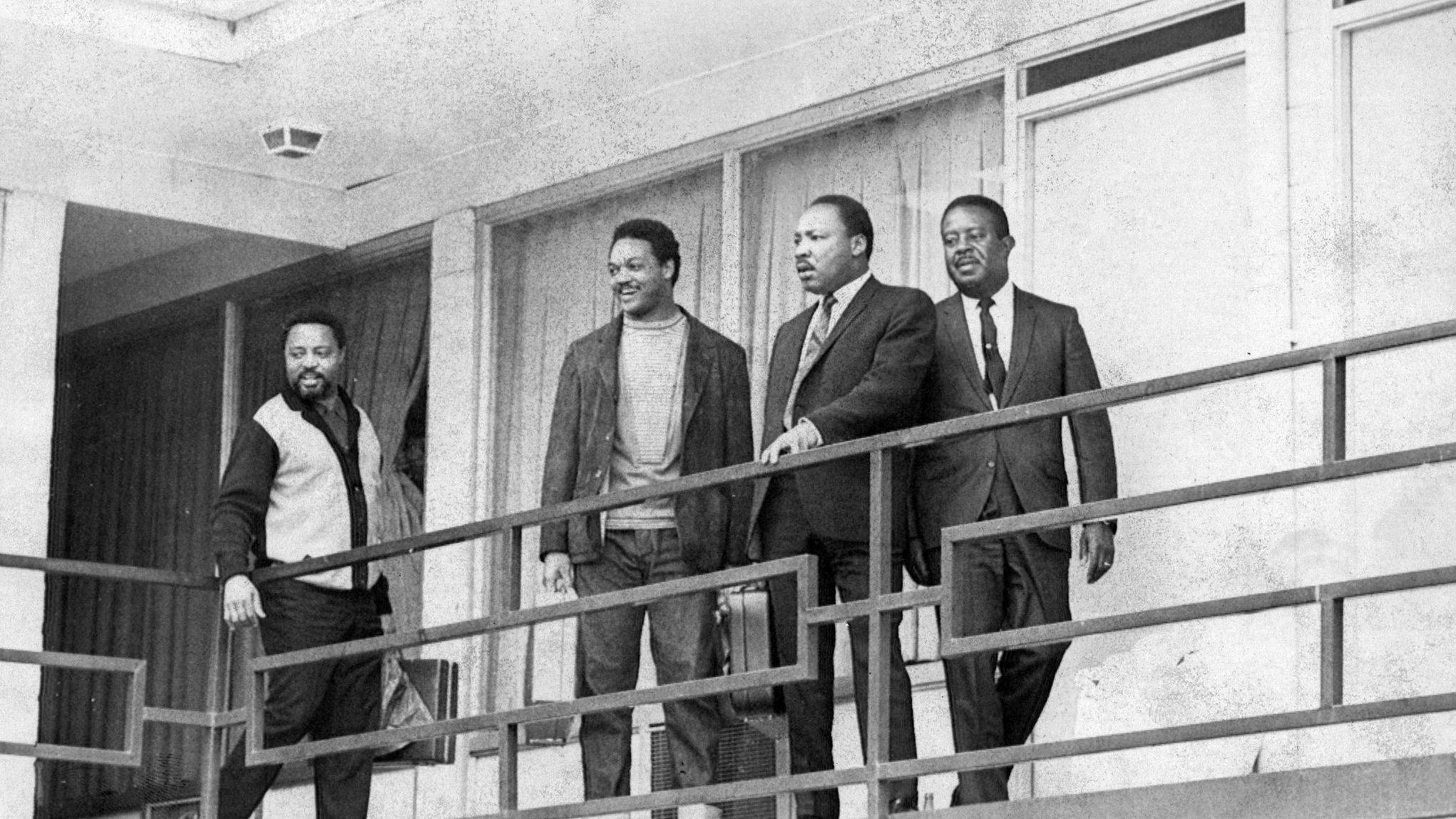 4/5/68--Rev. Martin Luther King Jr. stands on the balcony of the Memphis motel at approximately the