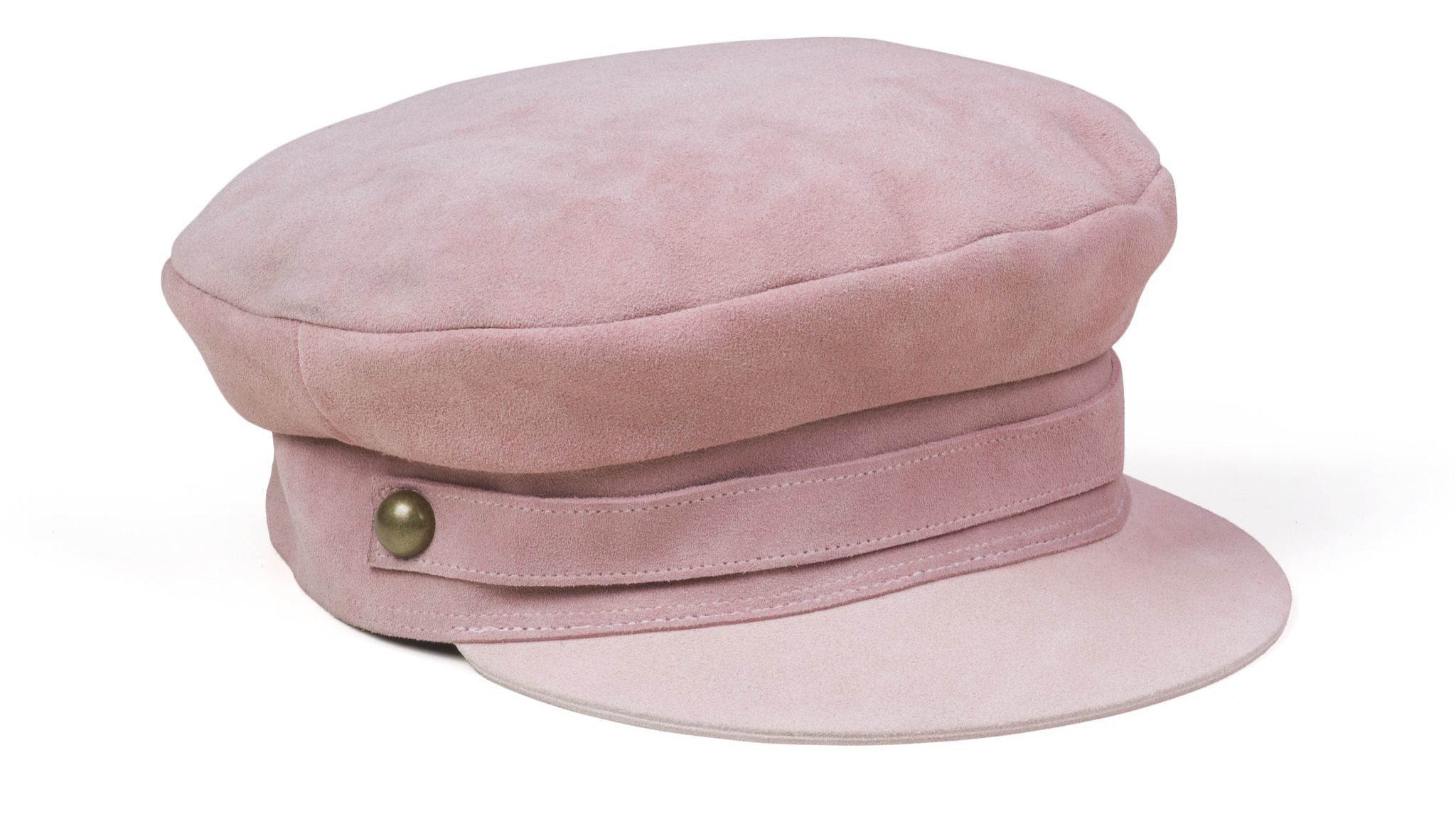 A pink suede slouch cap
