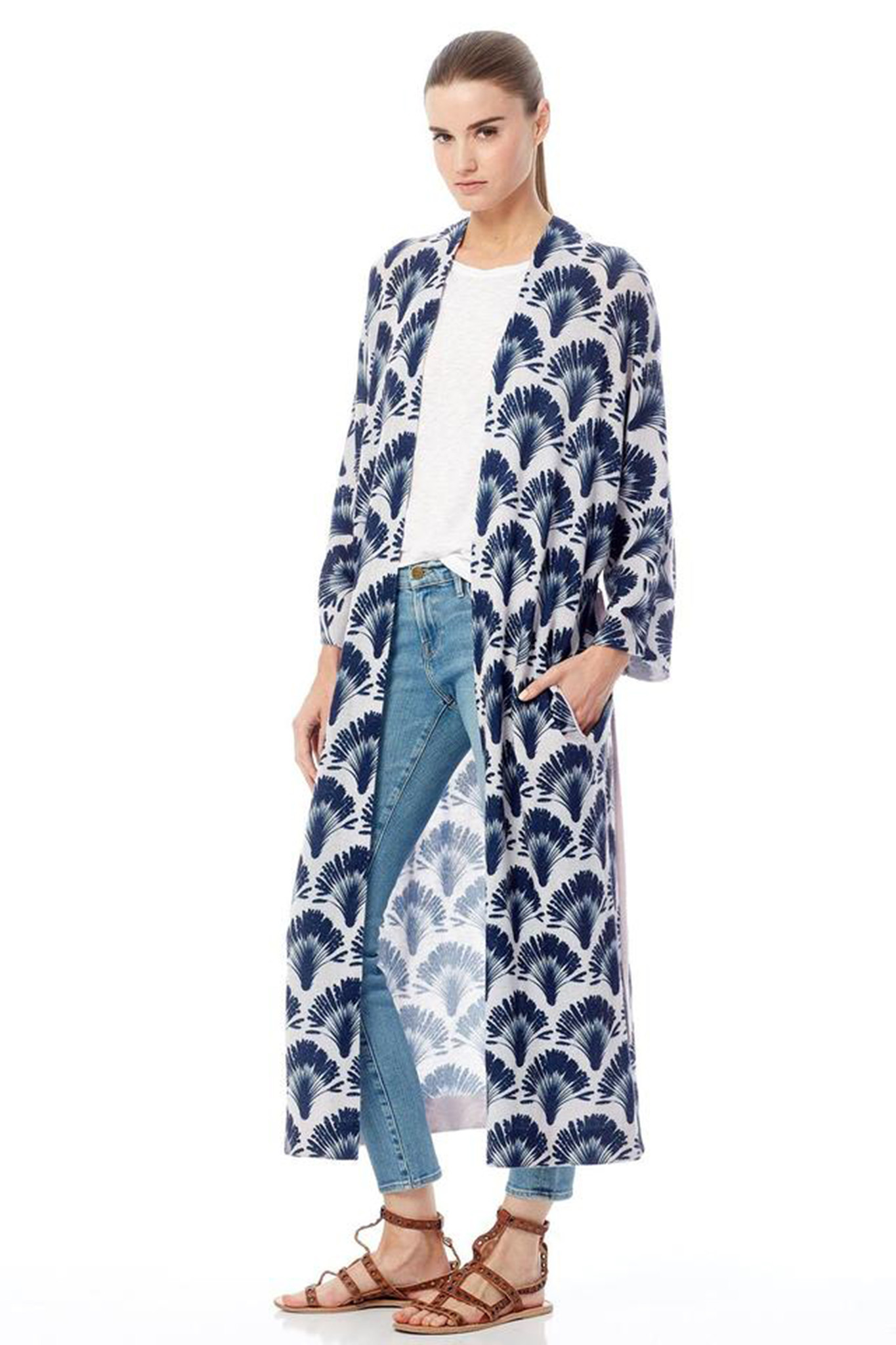 The Berlin, a lightweight cashmere robe with a palm frond print from 360Cashmere, is designed be worn over practically everything.