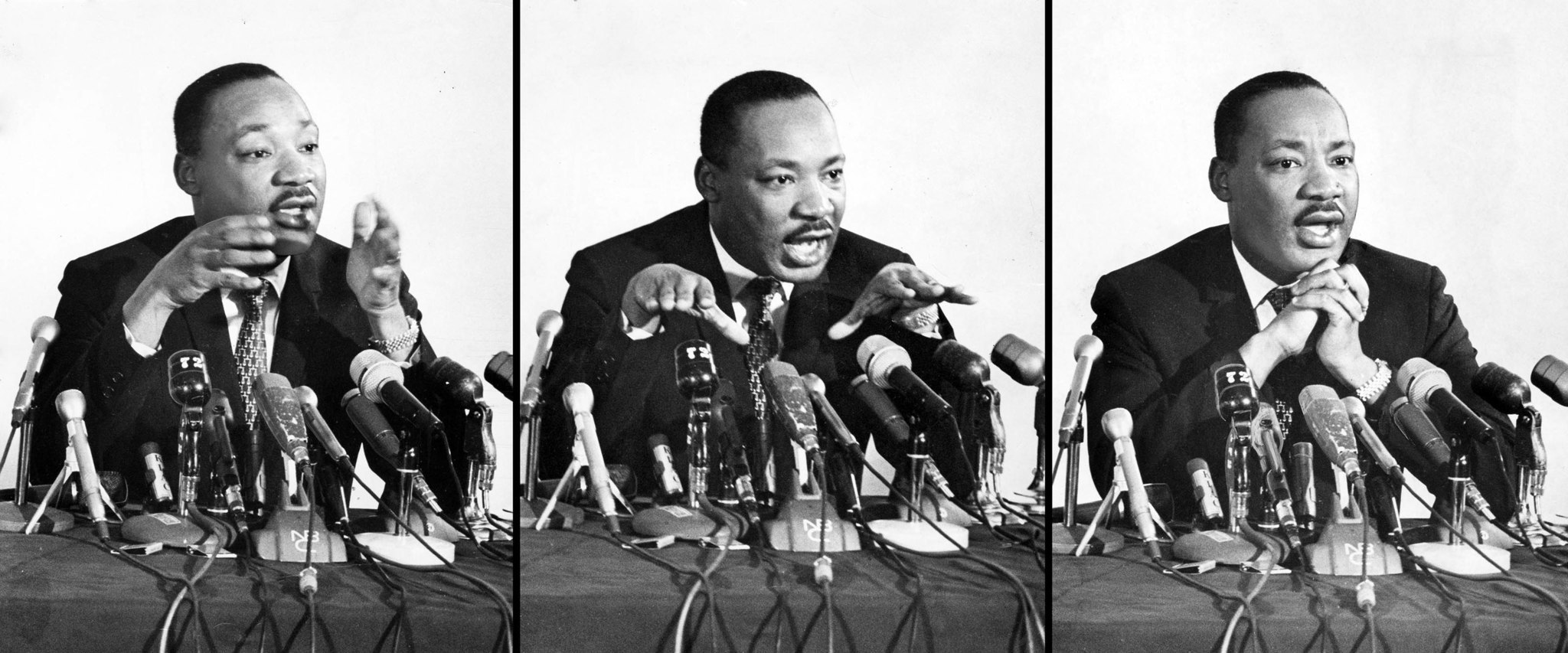 Apr. 12, 1967: Martin Luther King during press conference at the Biltmore Hotel in Los Angeles.