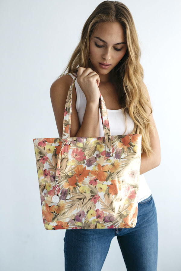 A floral tote from Los Angeles brand Svala is made of cork.